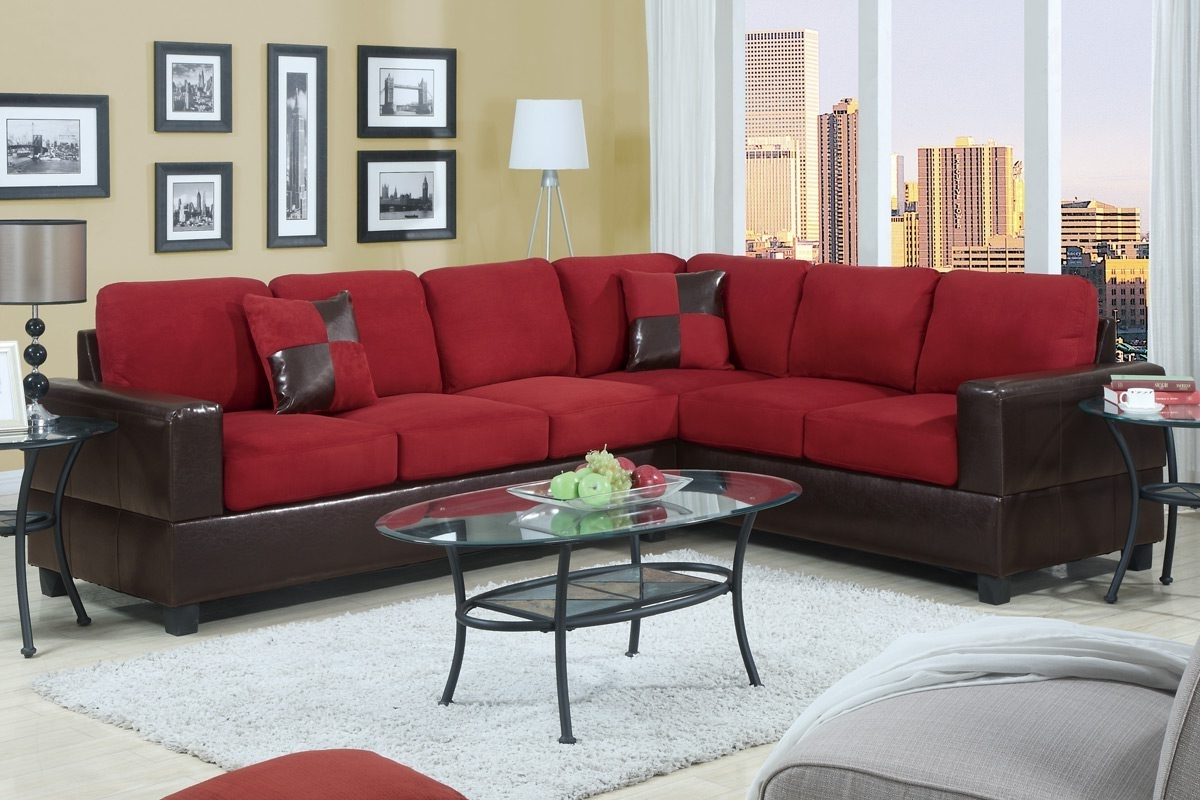 Red Black Sectional Sofas In Favorite Red And Black Living Room Set Round White Leather Ottoman Wooden (View 13 of 15)
