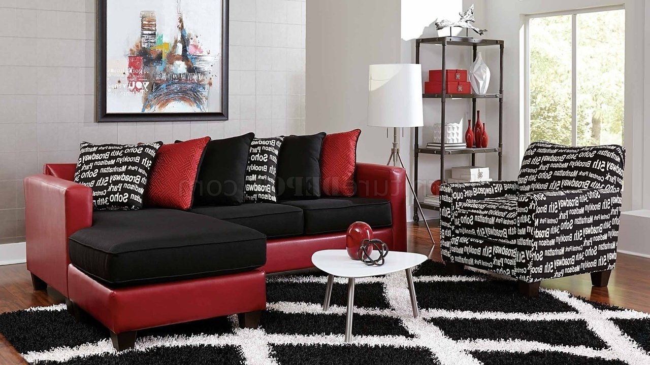 Red Black Sectional Sofas Inside Most Recent 3006 Sectional Sofa In Red Bicast & Black Microfiber (View 7 of 15)