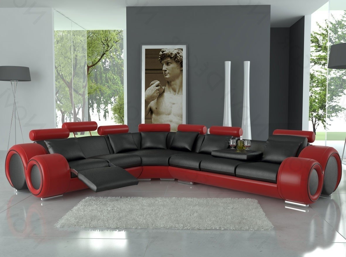 Red Black Sectional Sofas Pertaining To 2017 Amazon: 4087 Red & Black Bonded Leather Sectional Sofa With (View 8 of 15)