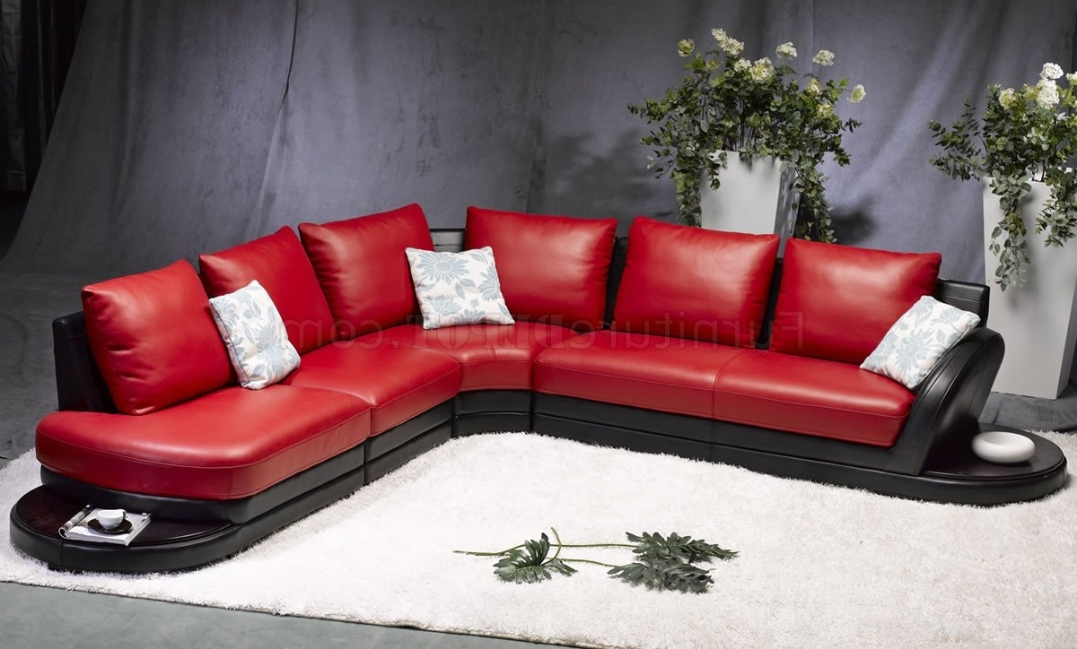 Red Black Sectional Sofas Pertaining To Latest Red & Black Leather Modern Two Tone Sectional Sofa (View 9 of 15)