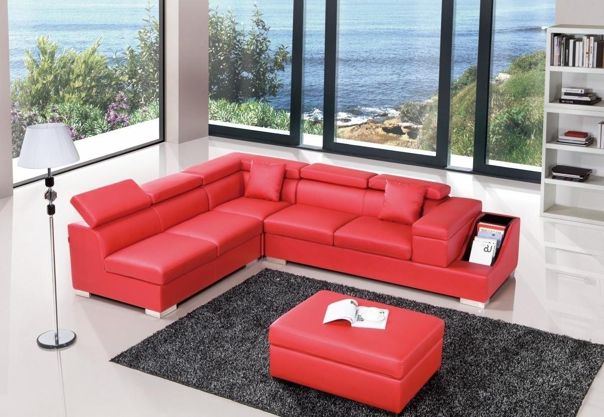 Red Color Sectional Sofa Upholstered In High Quality Leather Pertaining To Newest Red Leather Sectional Sofas With Ottoman (View 4 of 15)