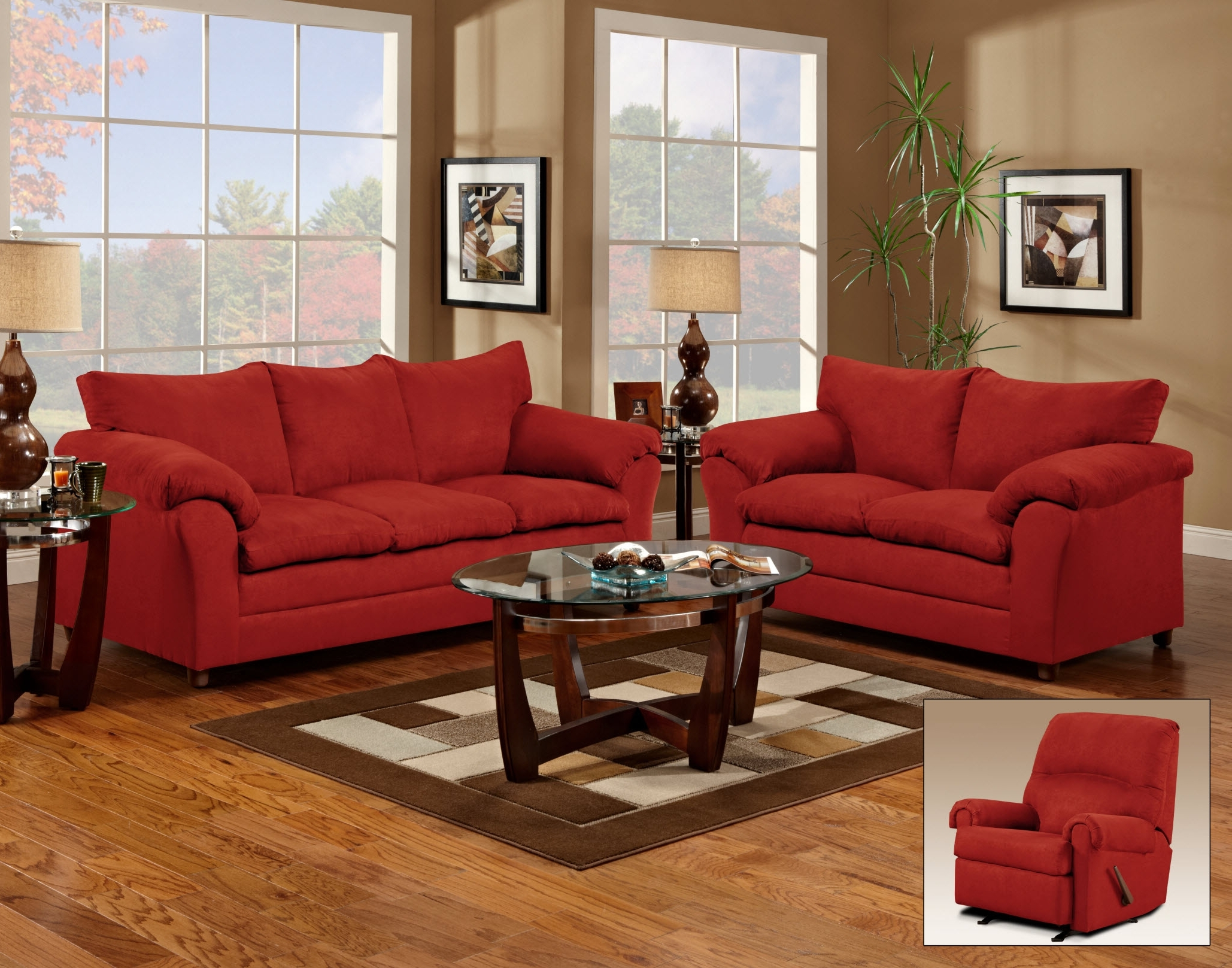Red Couch And Loveseat – Living Room (View 7 of 15)