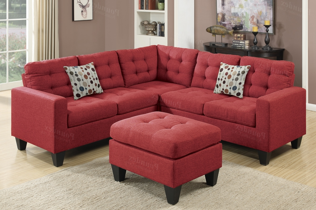 Red Fabric Sectional Sofa And Ottoman – Steal A Sofa Furniture Inside Famous Red Leather Sectional Sofas With Ottoman (View 5 of 15)