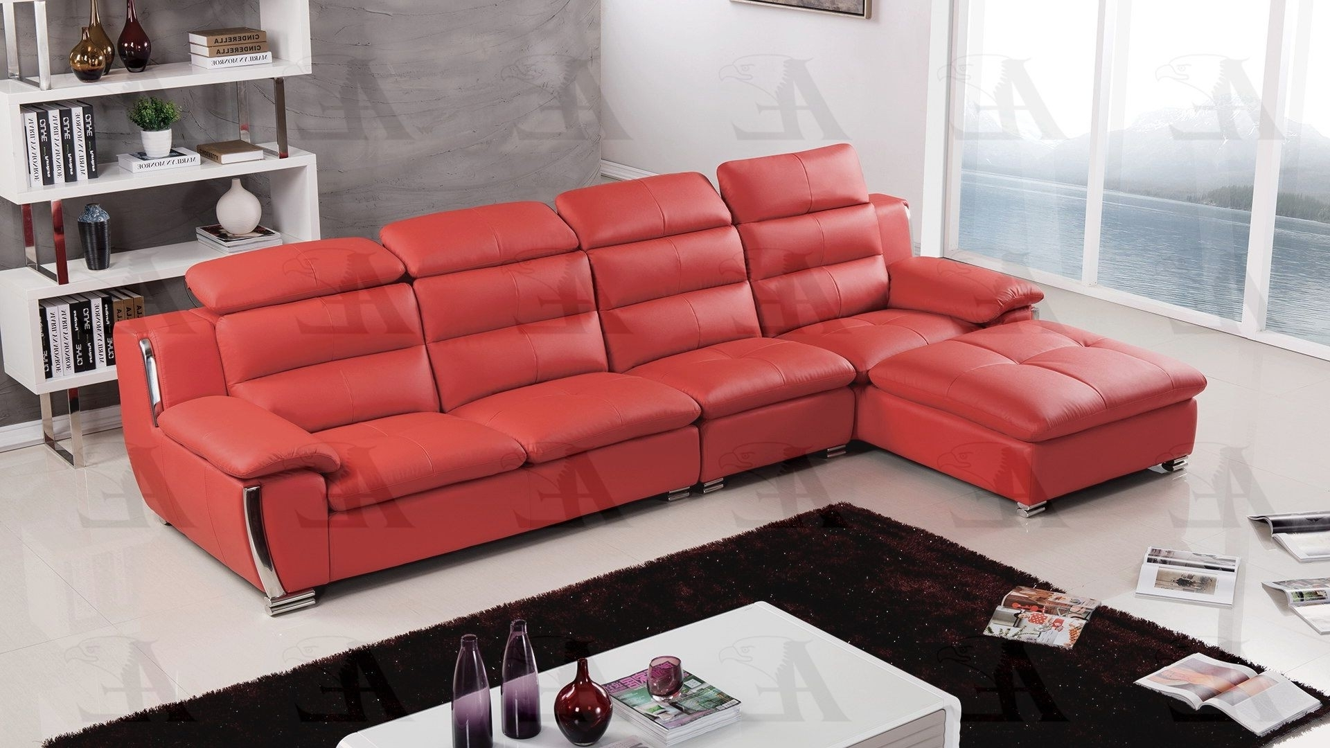 Red Faux Leather Sectionals In Recent Faux Leather Sectional (View 8 of 15)