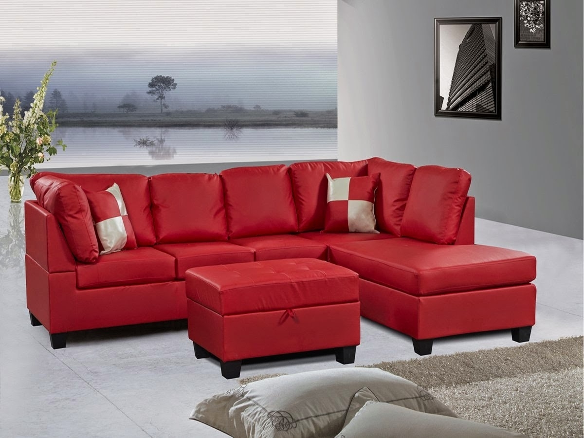 Red Faux Leather Sectionals In Trendy Red Couch: Red Leather Sectional Couch (View 2 of 15)