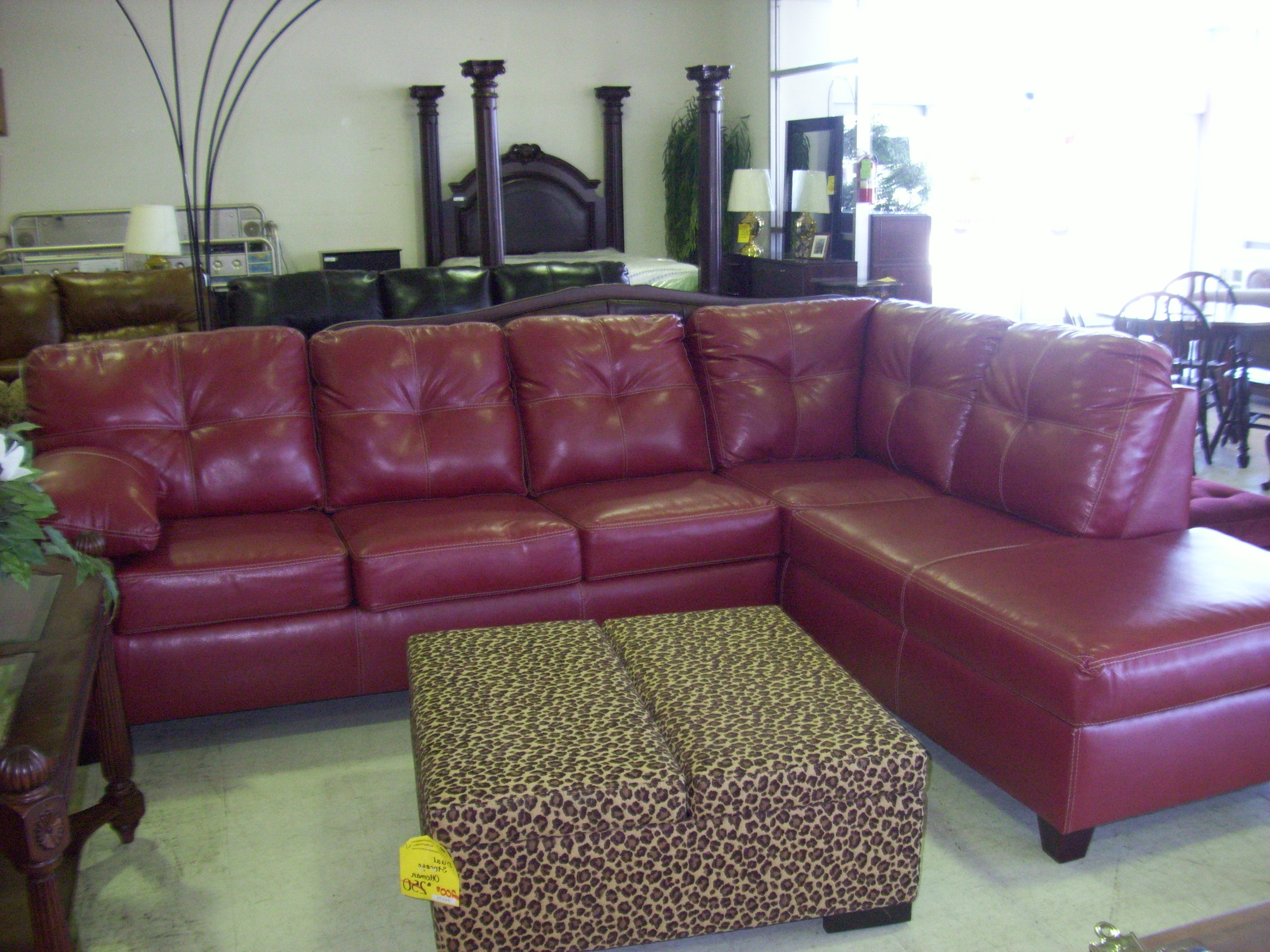 Red Faux Leather Sectionals With Regard To Most Recently Released Exotic L Shaped Red Purple Faux Leather Sofa With Tufted Back Rest (View 7 of 15)