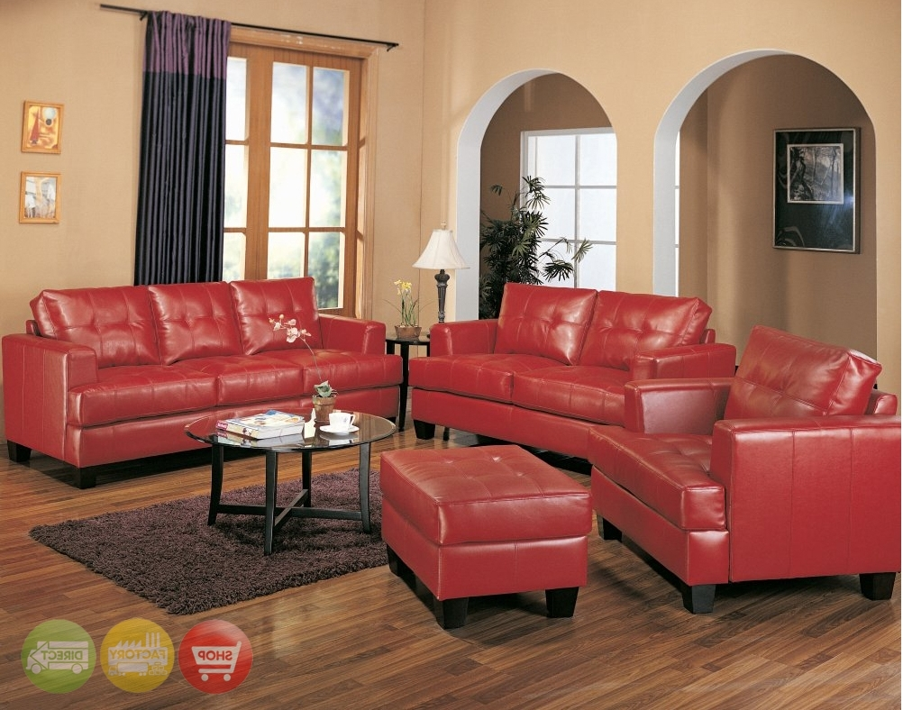 Red Leather Couches For Living Room With Recent Furniture: Minimalist Living Room With Red Leather Couches And (View 12 of 15)