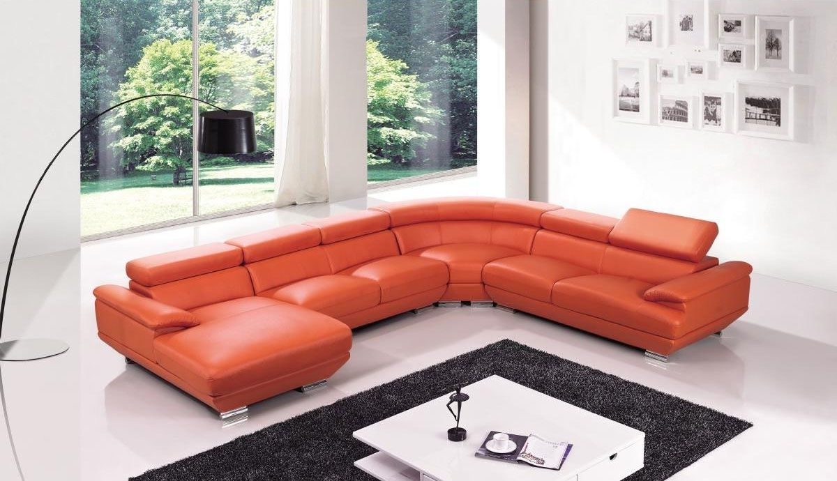 Red Leather Four Pieces Extra Large Modern Sectional Sofa North For Well Liked North Carolina Sectional Sofas (View 13 of 15)