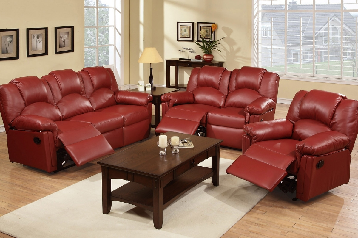 Red Leather Reclining Sofas And Loveseats For Well Liked Leather Sofas, Living Room – Burgundy Reclining Sofa Set (View 9 of 15)