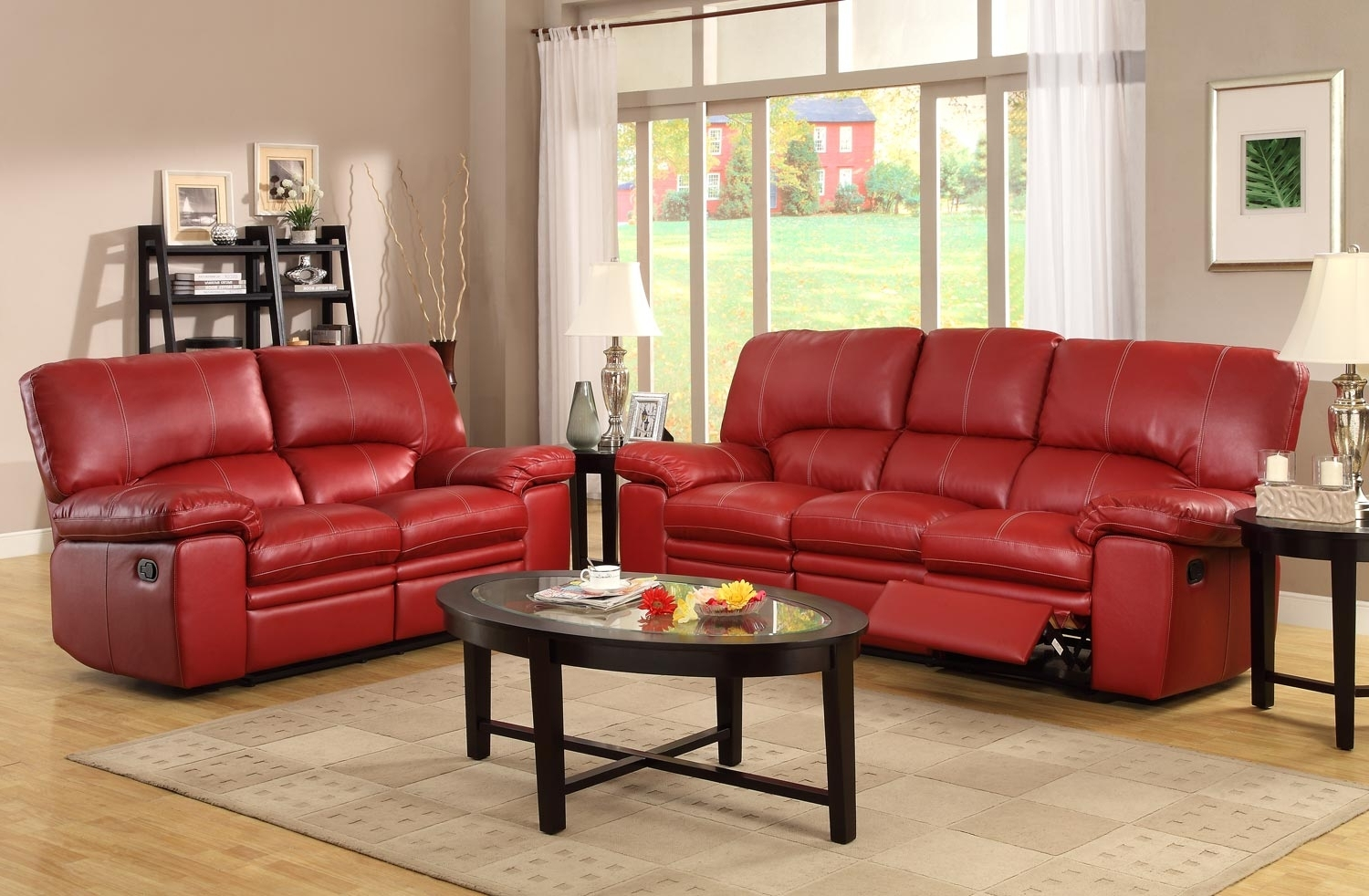 Red Leather Reclining Sofas And Loveseats Inside 2017 Simple Red Leather Tufted Backrest Loveseat With Shelter Armrest (View 4 of 15)