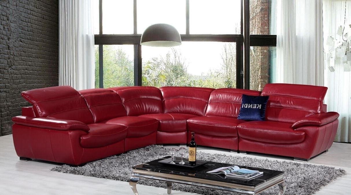 Red Leather Sectional Couches For Best And Newest Sectional Sofa Design: Good Looking Red Leather Sectional Sofa Red (View 5 of 15)