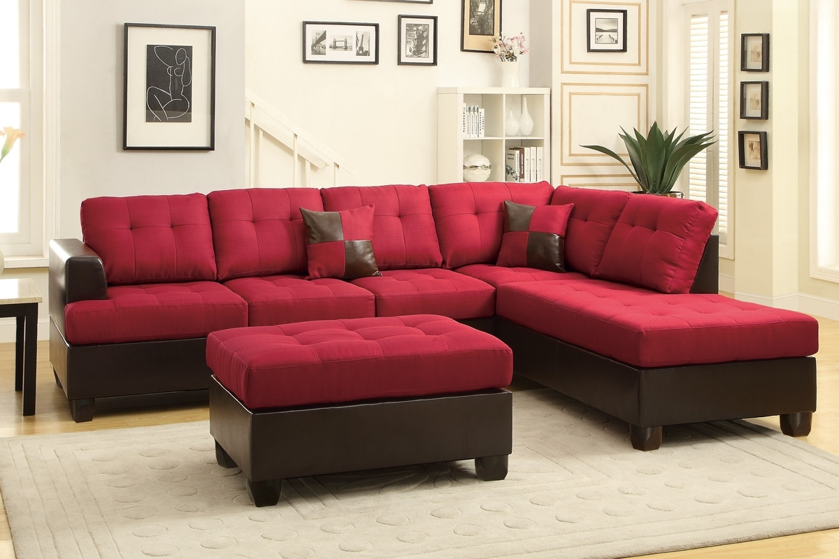 Red Leather Sectional Couches With Regard To Most Up To Date Red Leather Sectional Sofa And Ottoman – Steal A Sofa Furniture (View 12 of 15)