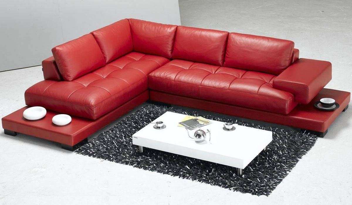 Red Leather Sectional Couches Within Trendy Stylish Modern Red Sectional Sofas (View 13 of 15)