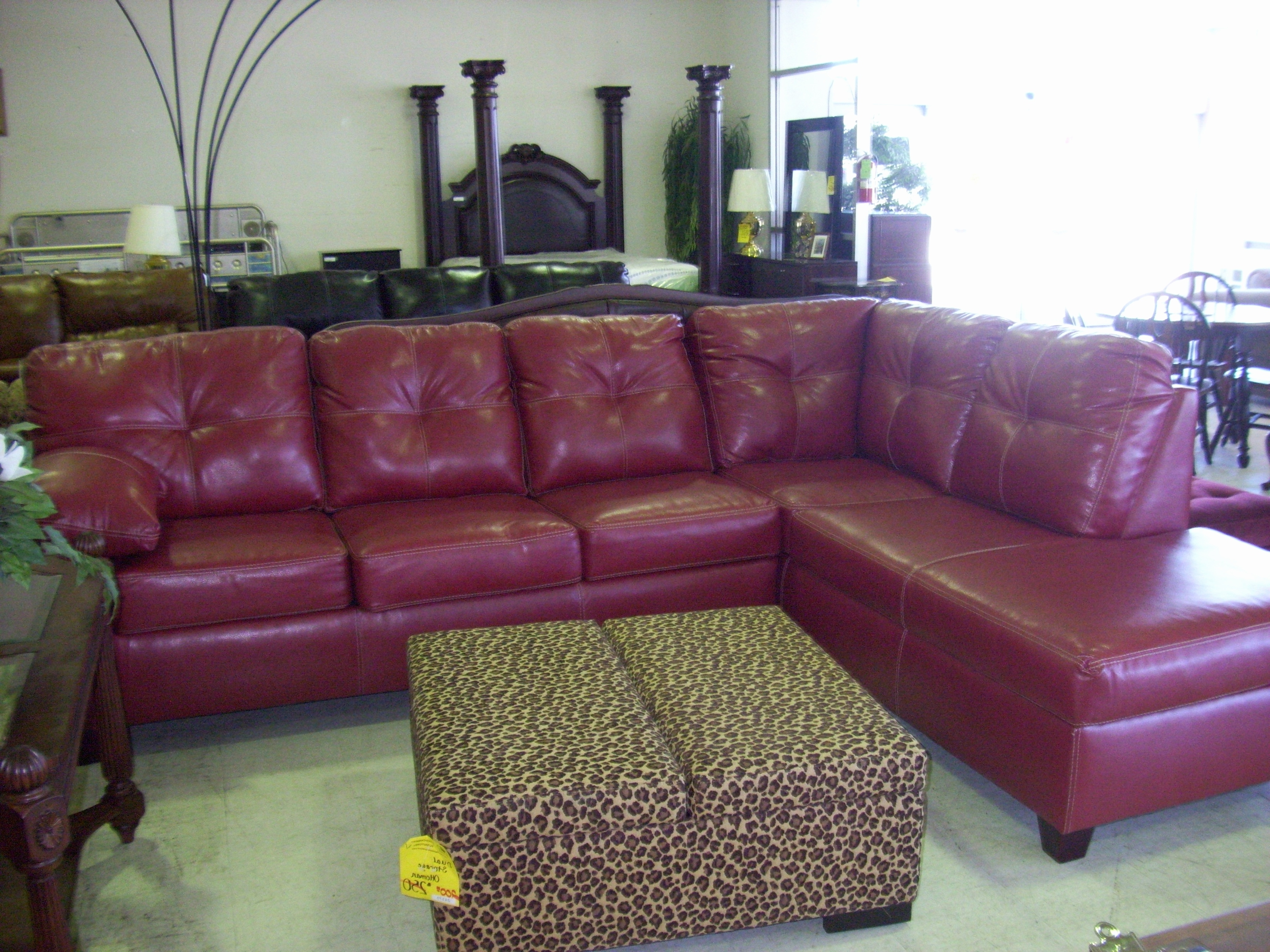 Red Leather Sectional Sofas With Ottoman With Regard To Widely Used Beautiful Ivory Tufted Leather Sectional Sofa And Ottoman  (View 13 of 15)