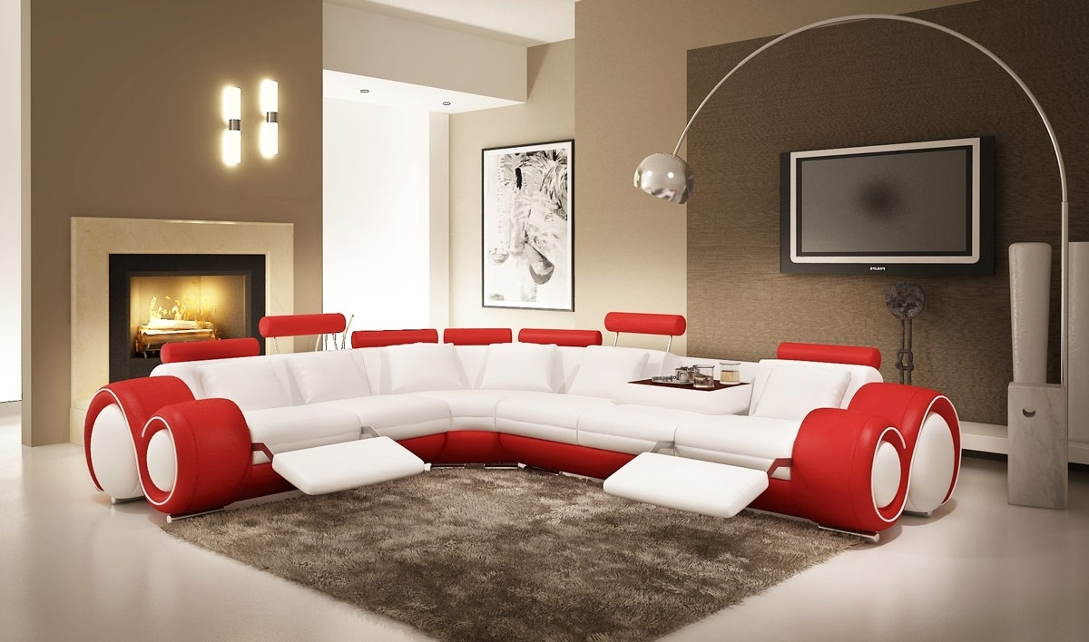 Red Leather Sectional Sofas With Recliners Intended For Recent Divani Casa 4087 Modern White And Red Leather Sectional Sofa (View 4 of 15)