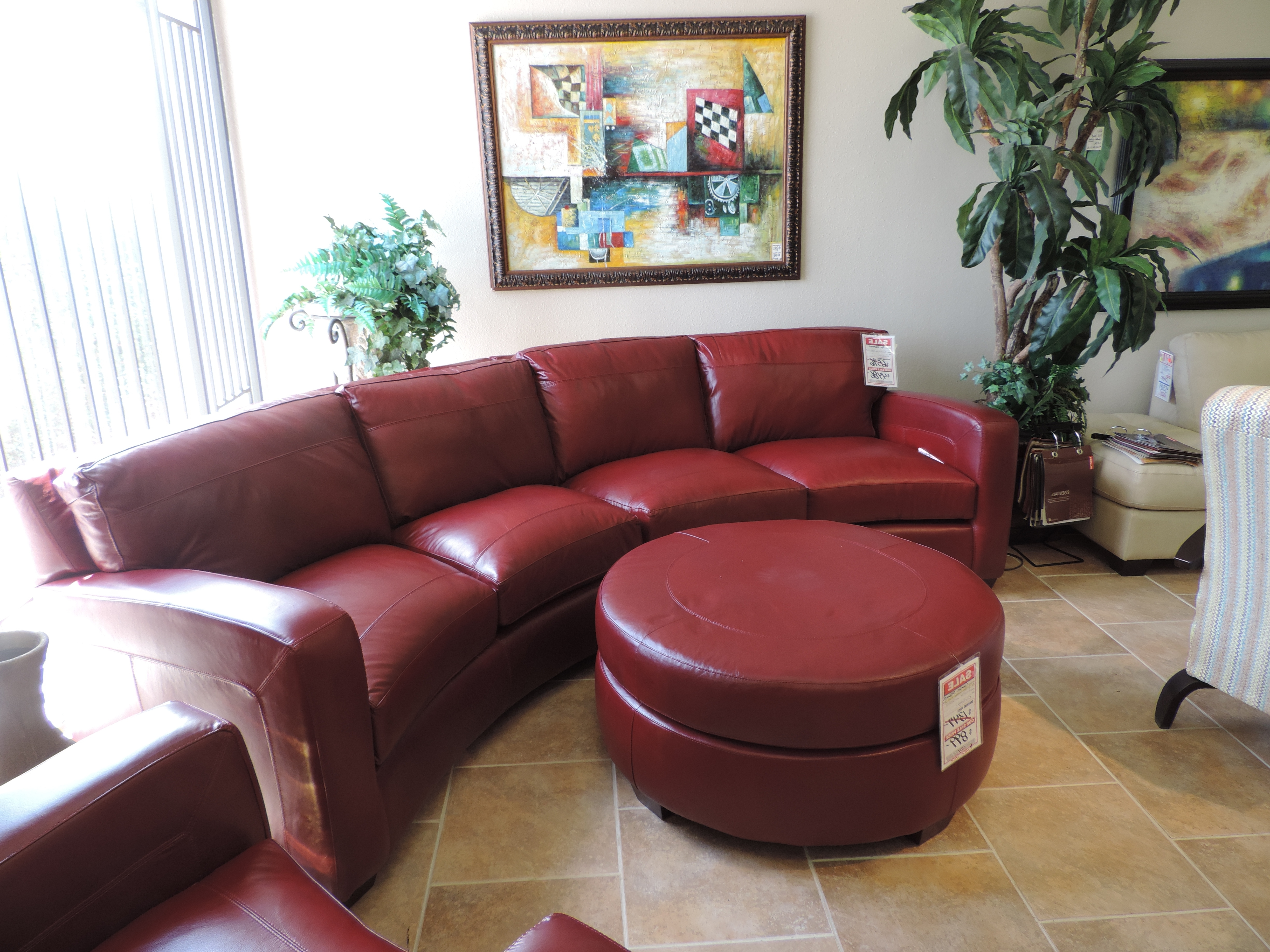Red Leather Sectionals With Ottoman For 2018 Red Leather Sectional Sofa With Matching Chair And Ottoman (View 11 of 15)