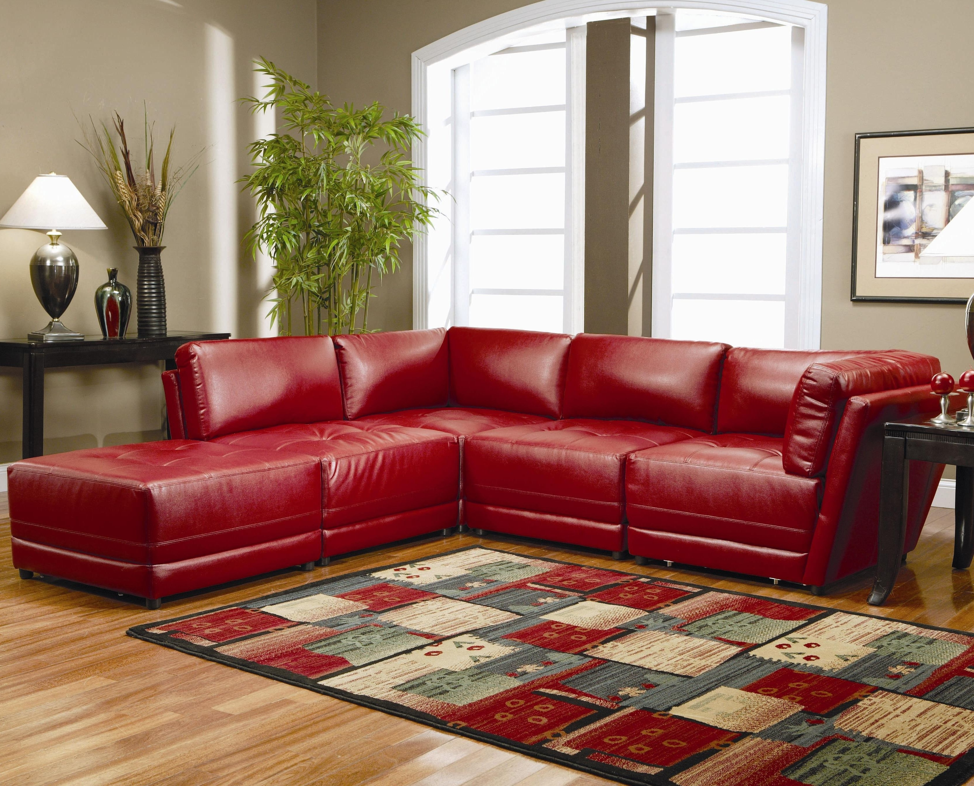 Red Leather Sectionals With Ottoman Intended For Well Known Sofas : Grey Sectional Couch Black Leather Couch Distressed (View 12 of 15)