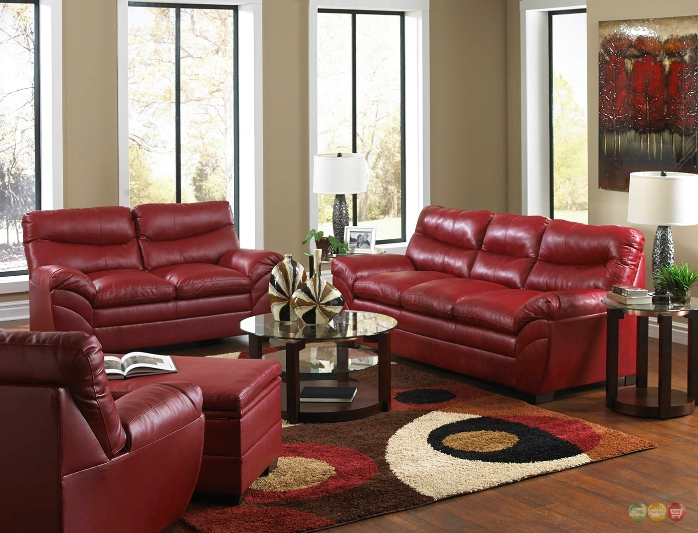 Red Leather Sofa Living Room Design (View 11 of 15)