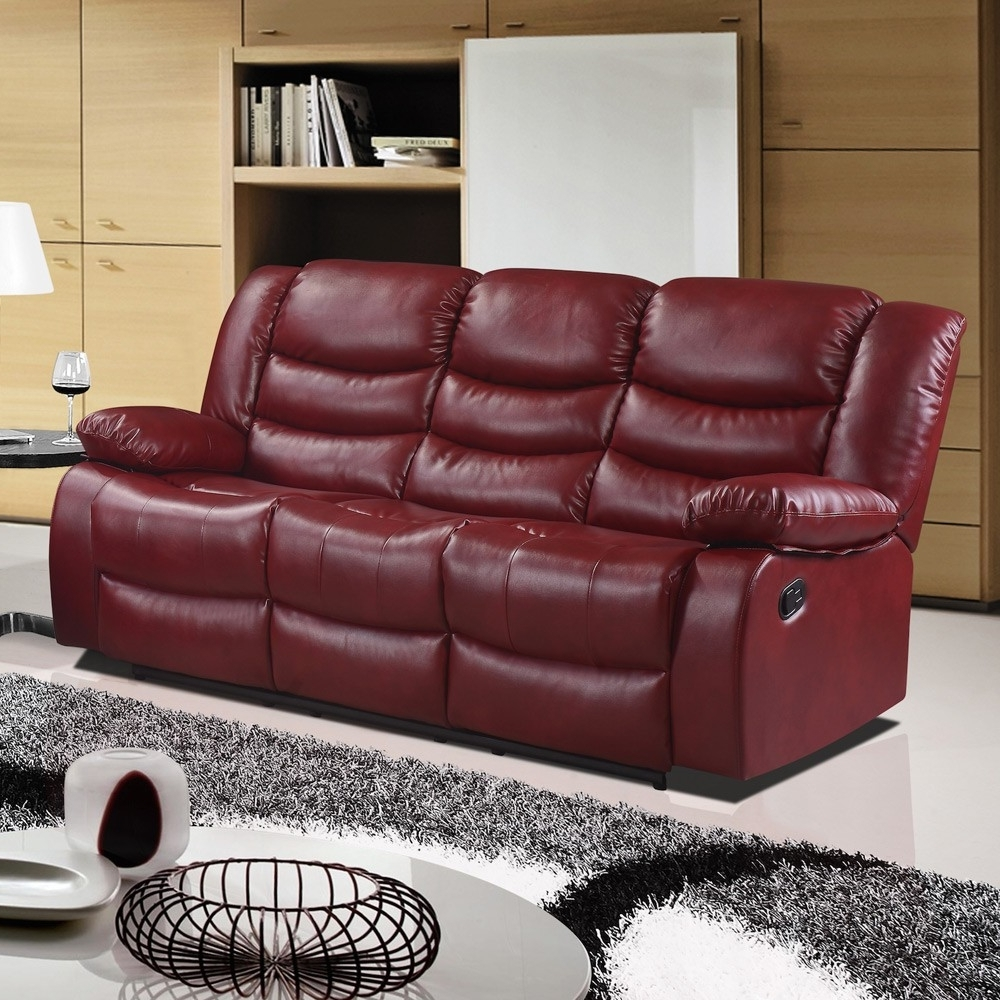 Red Leather Sofas With Regard To Favorite Cranberry Red Recliner Sofa Collection In Bonded Leather (View 6 of 15)