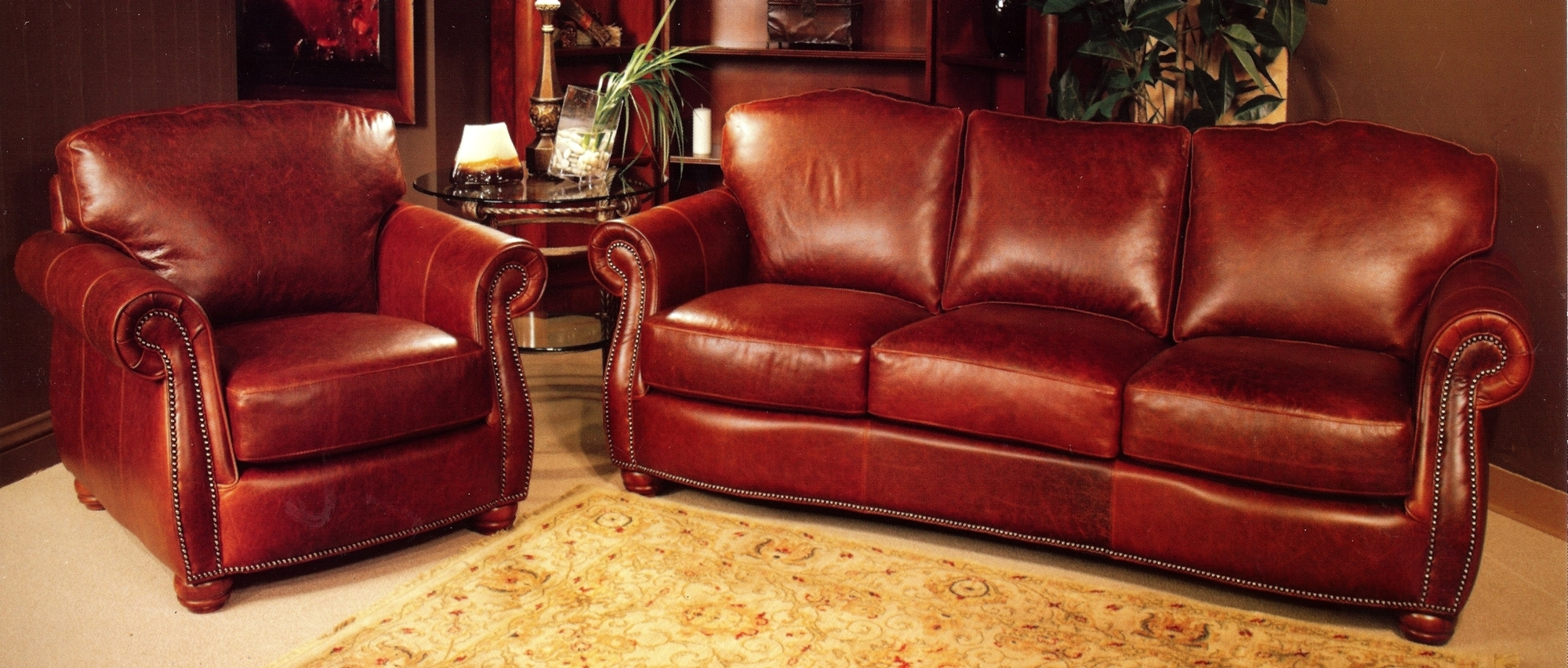 Red Leather Sofas Within Best And Newest Rustic Red Leather Sofa And Rustic Red Leather Chair With Rustic (View 15 of 15)