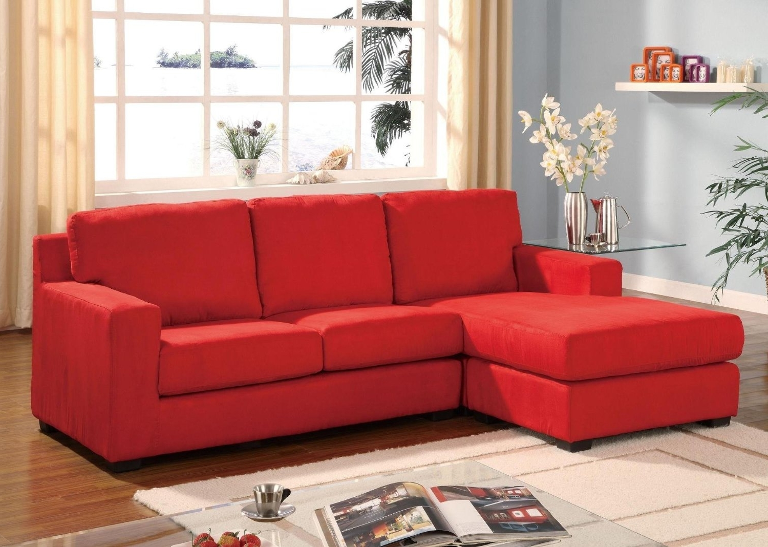 Red Sectional Sofas With Chaise Throughout Fashionable Small Sectional Sofa With Chaise, Red Microfiber Sectional Sofa (View 9 of 15)