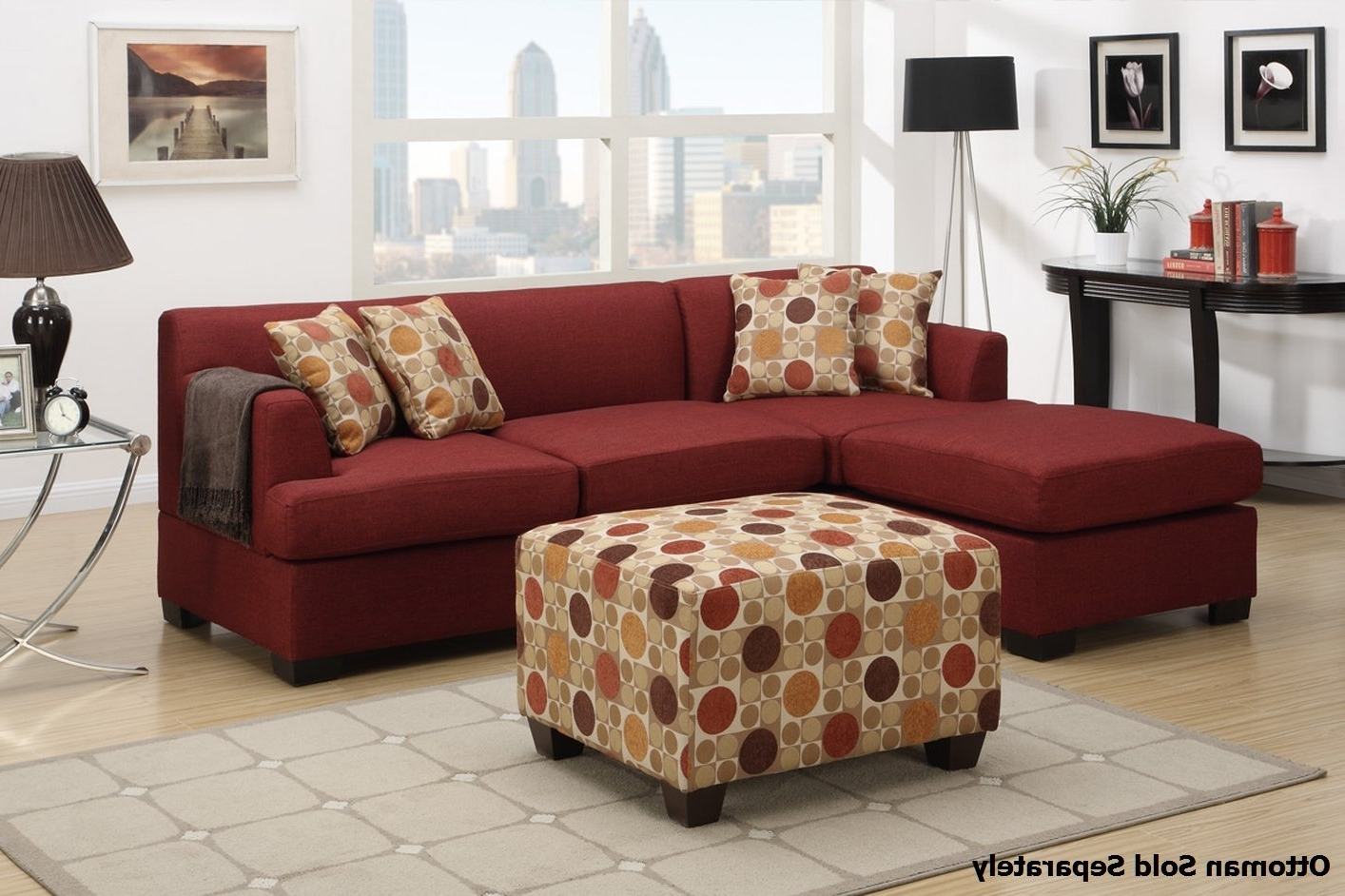 Red Sectional Sofas With Ottoman For Most Recent Montreal Ii Red Fabric Sectional Sofa – Steal A Sofa Furniture (View 14 of 15)