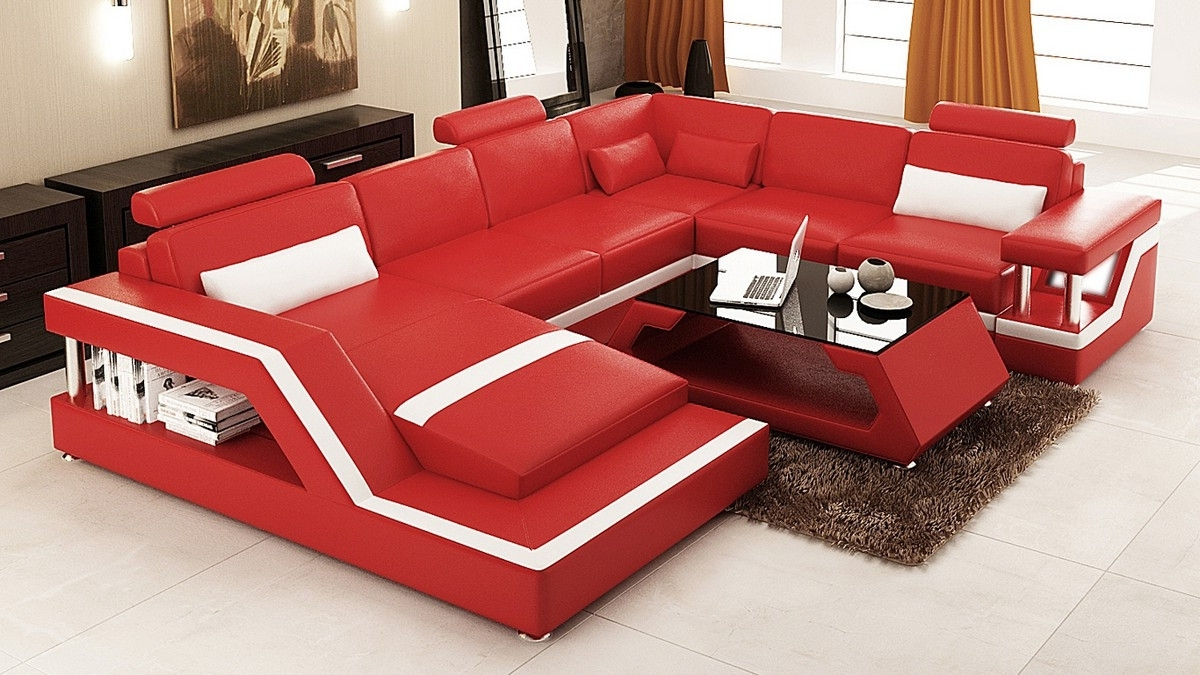Red Sectional Sofas With Regard To Popular Divani Casa 6139 Modern Red And White Leather Sectional Sofa (View 11 of 15)