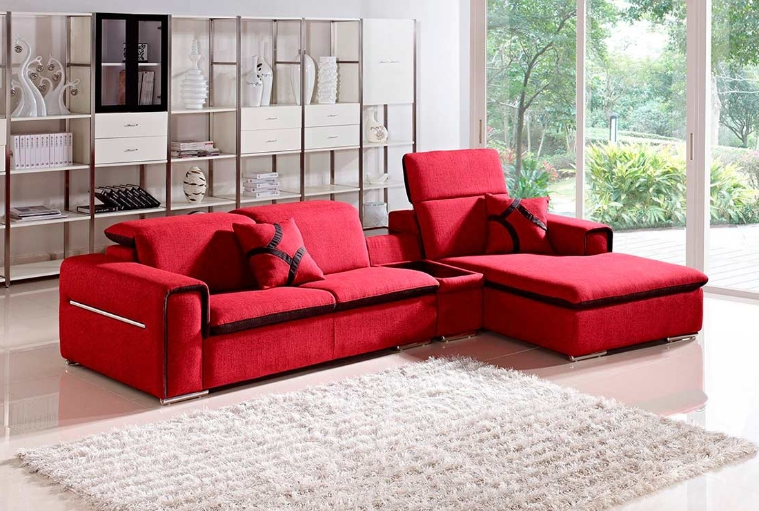 Red Sectional Sofas Within Latest Modern Red Fabric Sectional Sofa Vg (View 5 of 15)