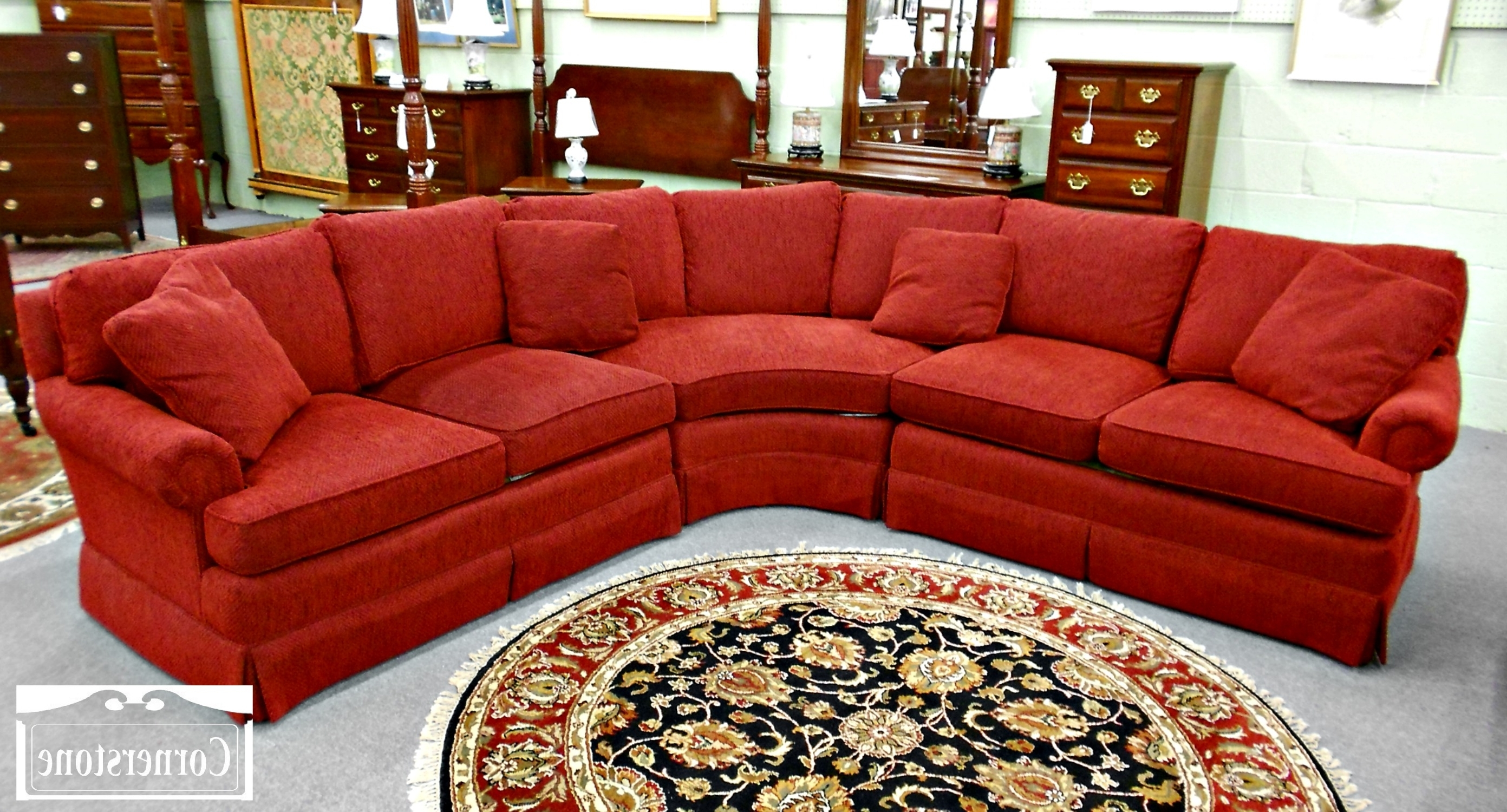 Red Sectional Sofas Within Newest Curved Red Velvet Sectional Sofa With Square Cushions And Back (View 15 of 15)