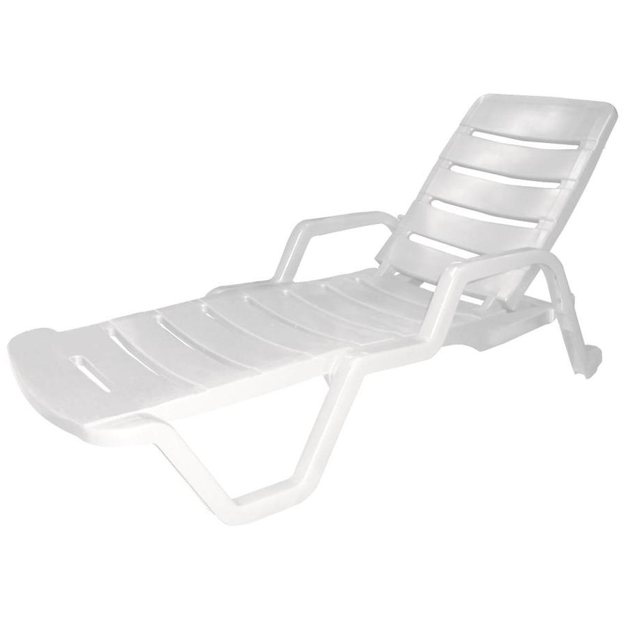 Resin Chaise Lounge Chairs Within Most Popular Shop Adams Mfg Corp White Resin Stackable Patio Chaise Lounge (View 6 of 15)