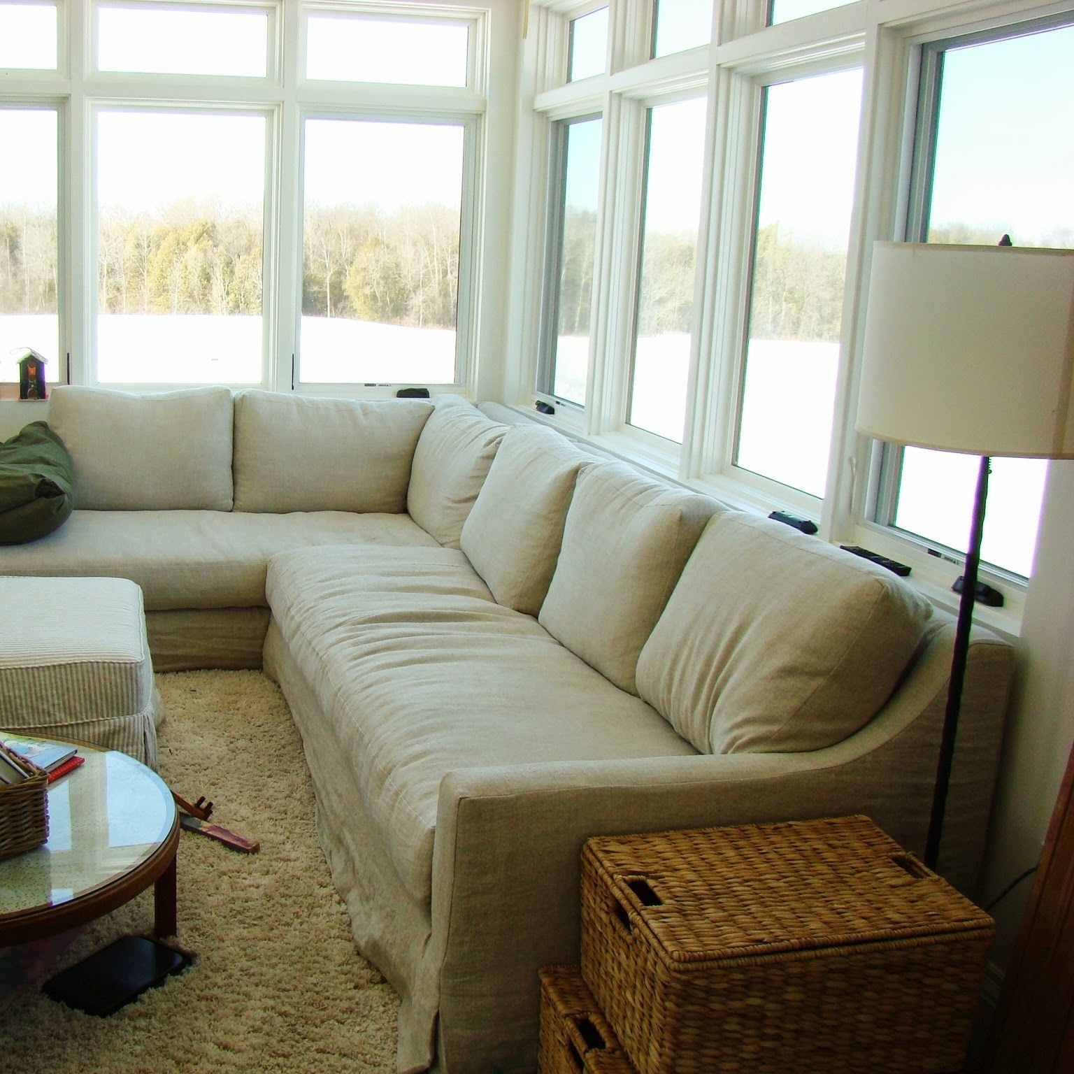 Restoration Hardware Sectional Sofas With Regard To Popular Building Walnut Farm: Belgian Linen Slipcovered Furniture (View 2 of 15)