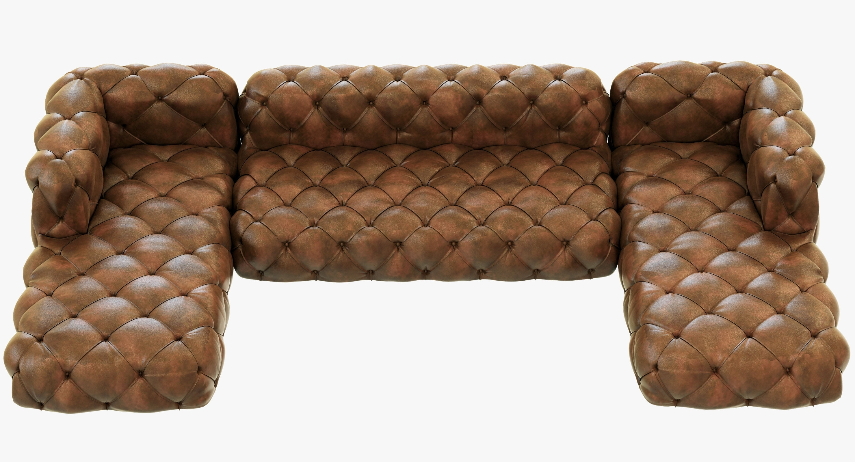 Restoration Hardware Soho Tufted Leather U Chaise Sectional 3D In Famous Tufted Leather Chaises (View 7 of 15)