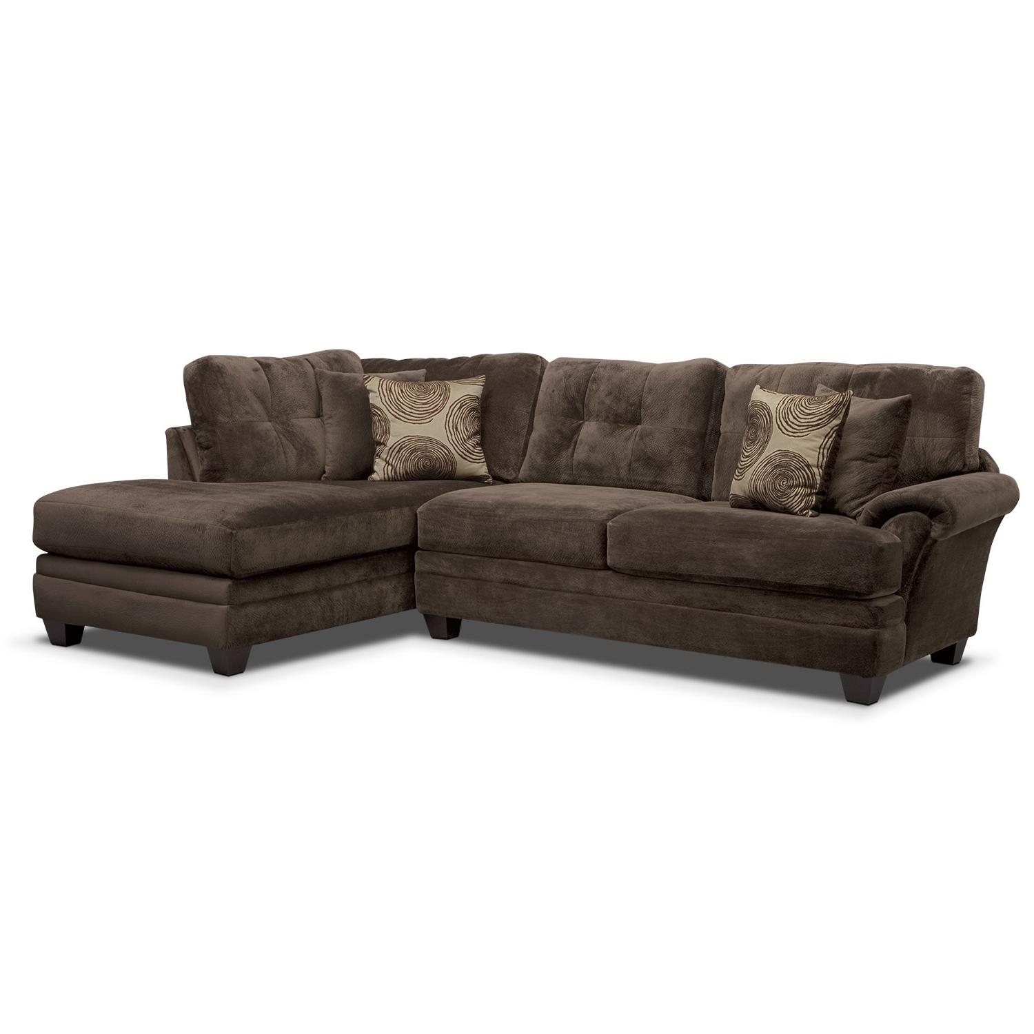 Right Facing Chaise Sectionals Inside Most Recently Released Cordelle 2 Piece Right Facing Chaise Sectional – Chocolate (View 12 of 15)