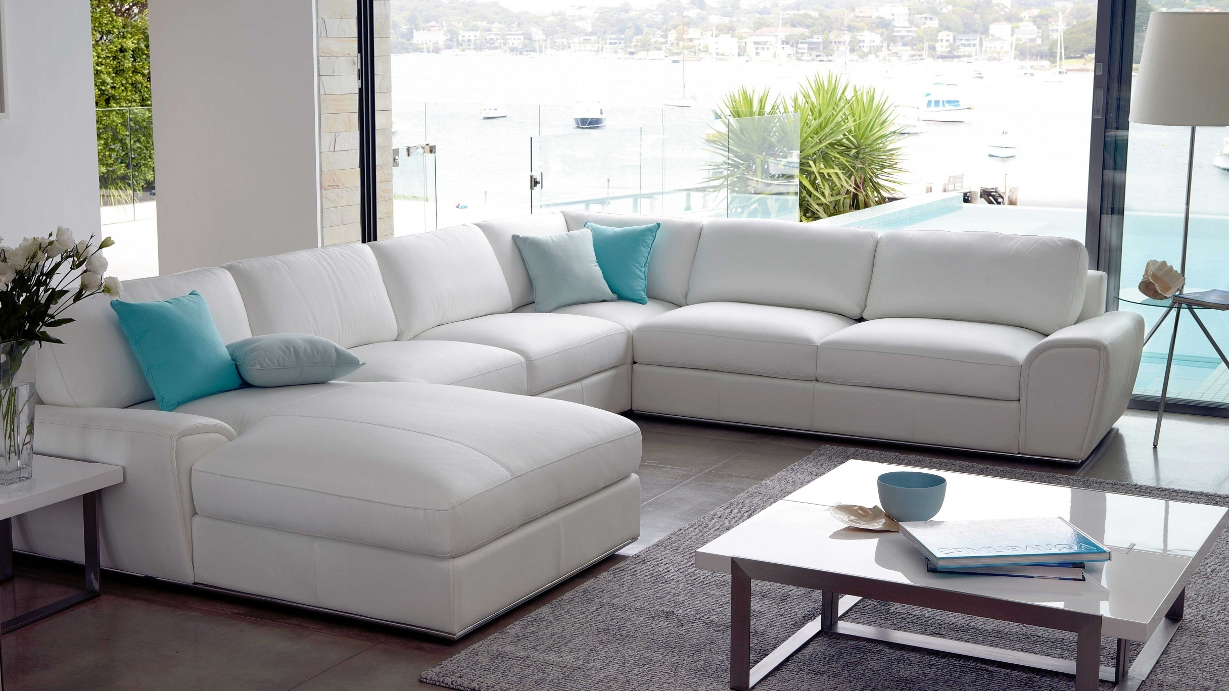 Riva 6 Seater Modular Leather Lounge – White Leather – Lounges With Regard To Well Liked Leather Lounge Sofas (View 14 of 15)