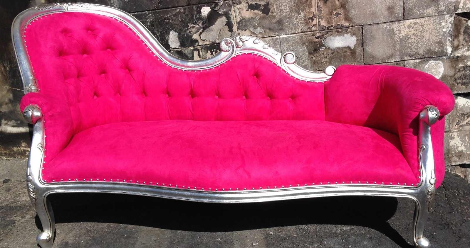 Rockstar Pink Chaise Lounge Chesterfield Sofa Queen Loveseat Couch Pertaining To Preferred Pink Chaises (View 12 of 15)