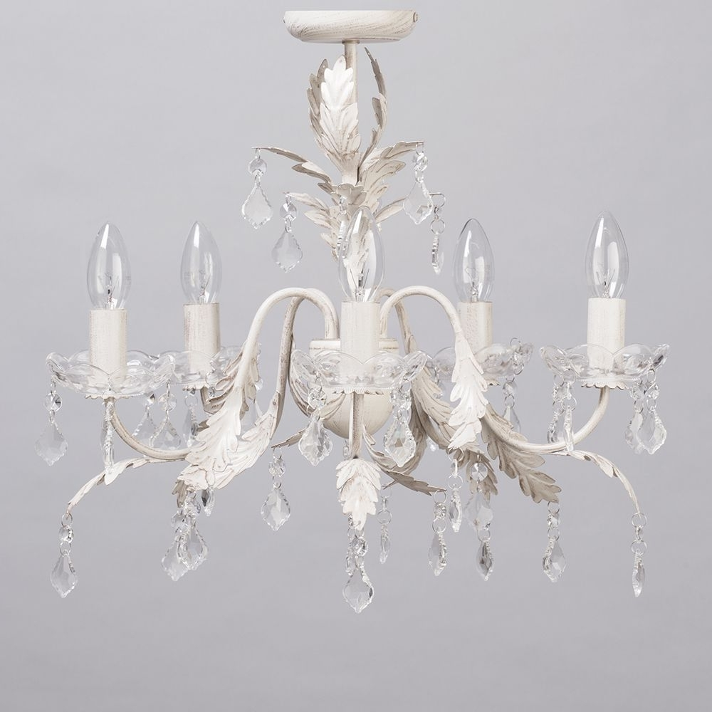 Romeo 5 Light Chandelier – Cream & Gold From Litecraft Intended For Most Popular Cream Crystal Chandelier (View 14 of 15)