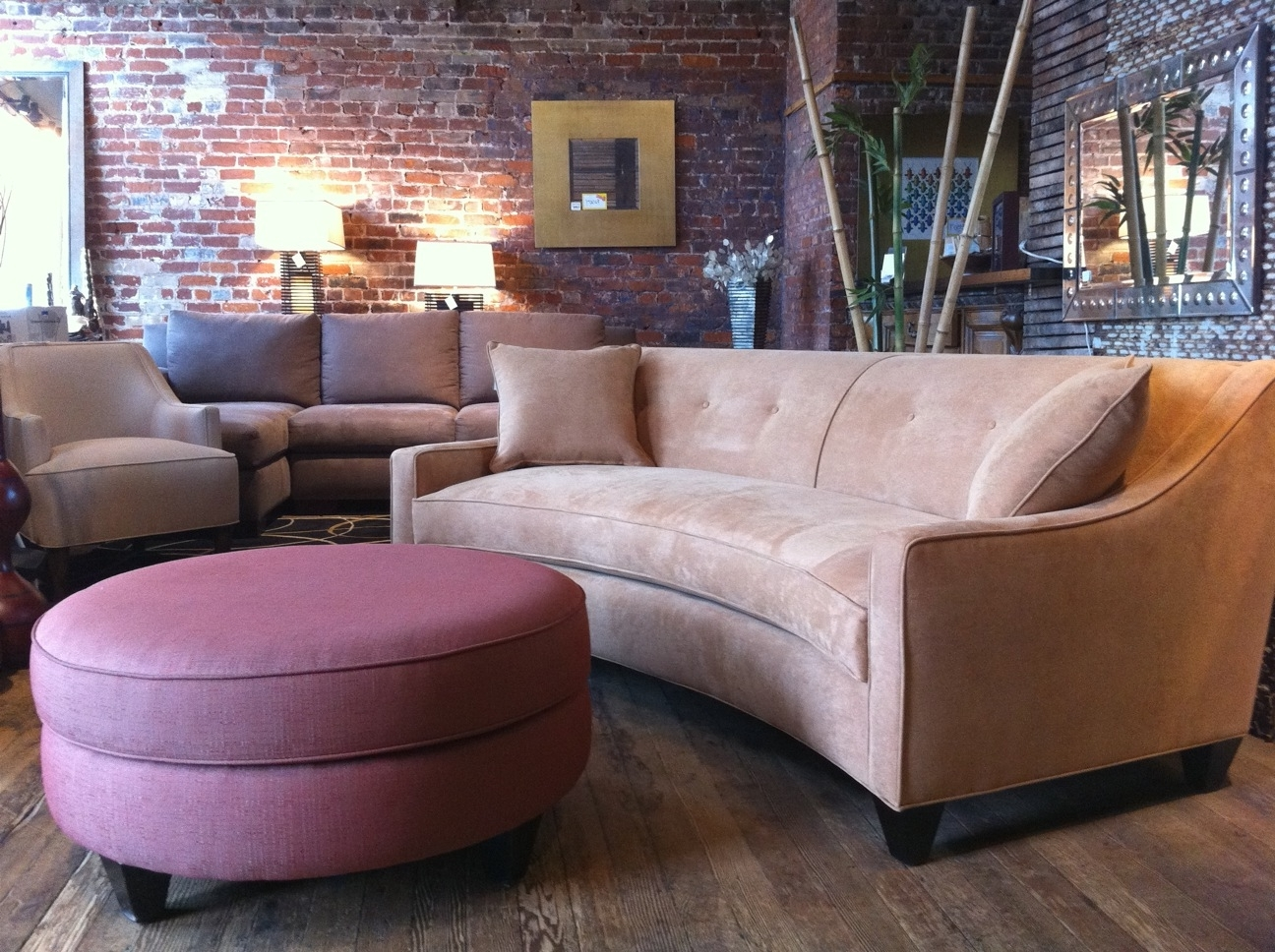 Round Ottoman, Ottomans And Curved In Well Liked Rounded Corner Sectional Sofas (View 5 of 15)