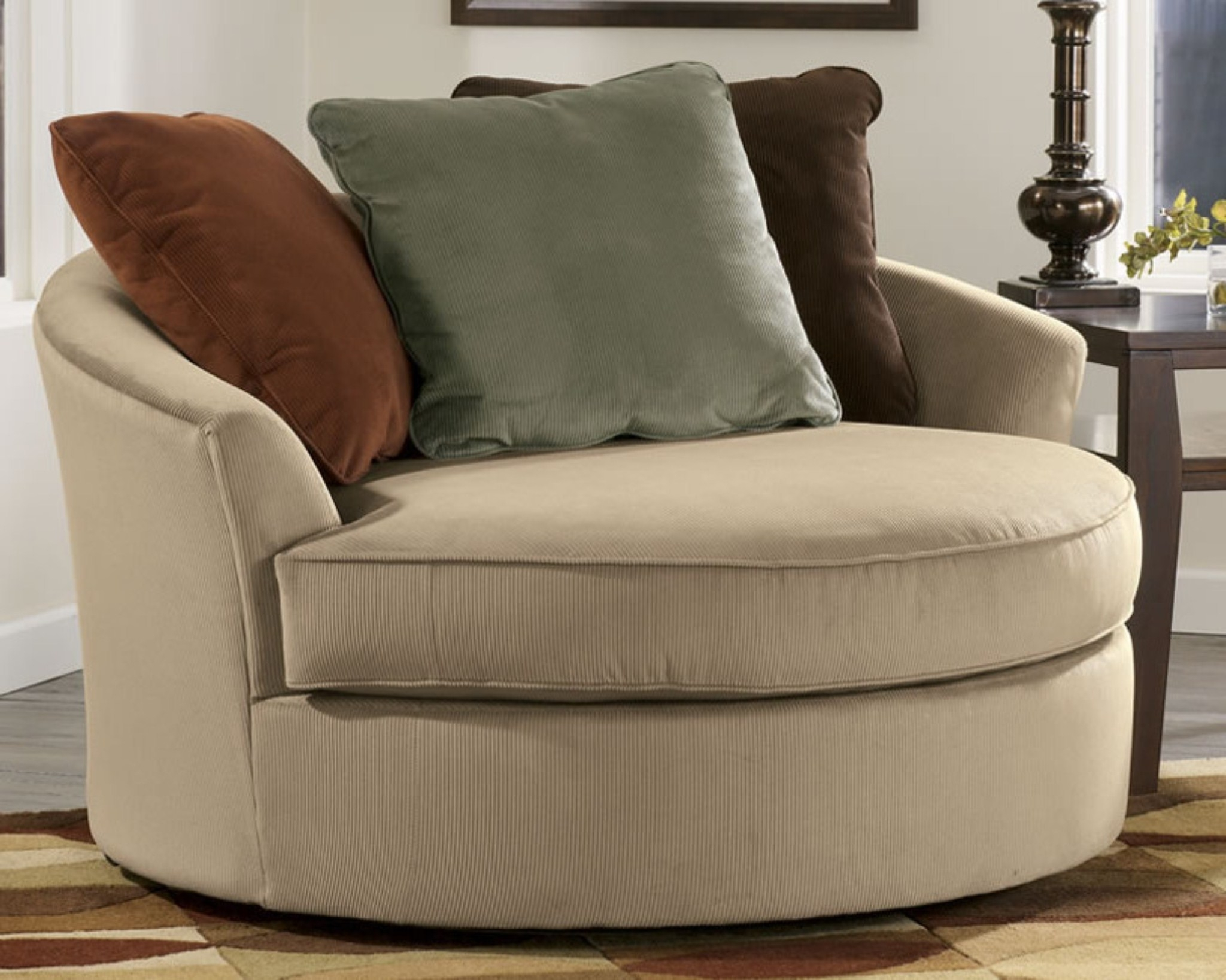 Round Swivel Sofa Chairs Intended For Latest Sofa : Luxury Round Swivel Sofa Chair Latest Large With Crescent (View 2 of 15)