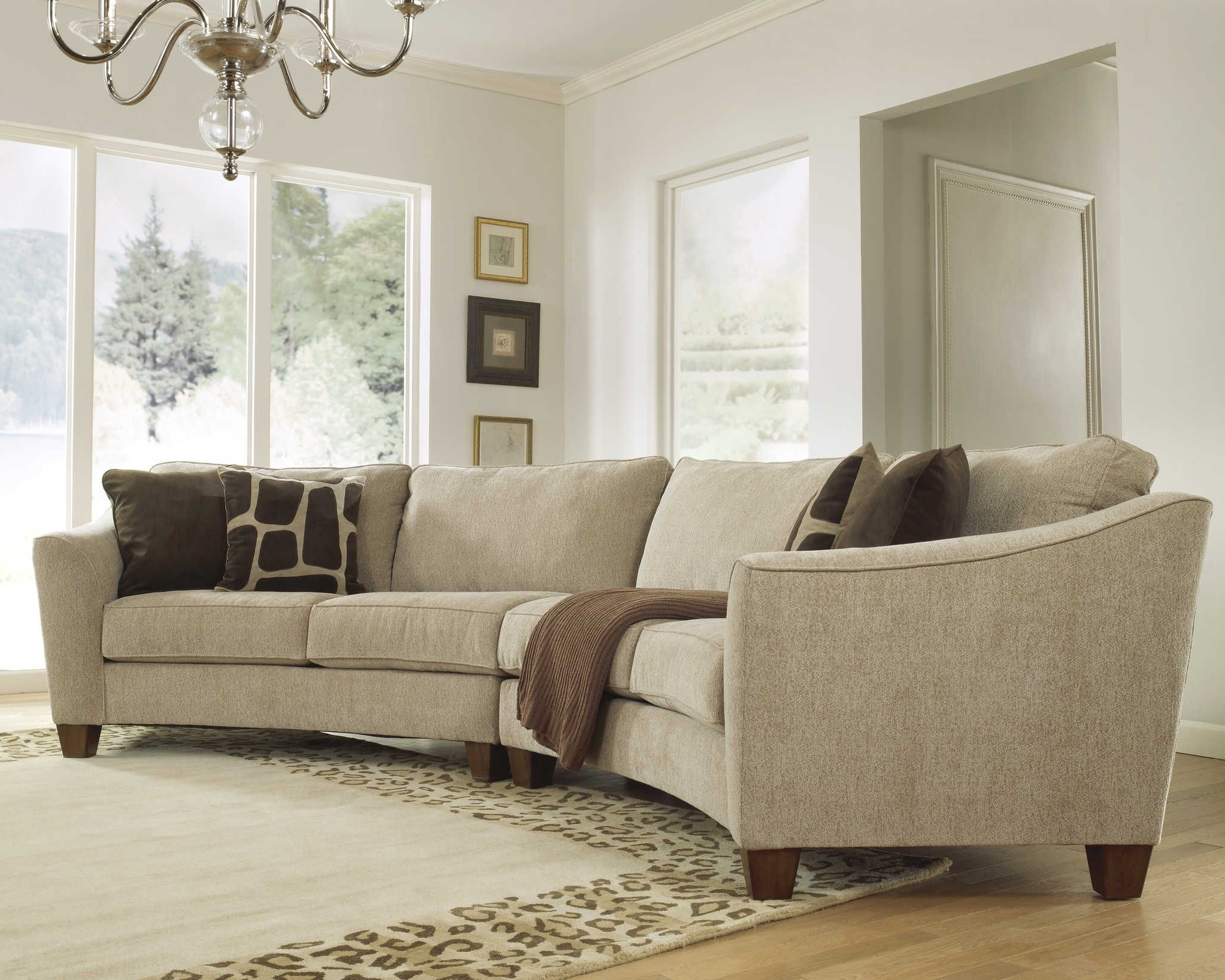 Rounded Corner Sectional Sofas For Latest Curved Sectional Sofa Set – Rich Comfortable Upholstered Fabric (View 14 of 15)