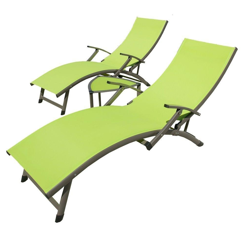 Rst Brands Sol Sling 3 Piece Green Patio Chaise Lounge Set Op With Most Current Sling Chaise Lounges (View 11 of 15)