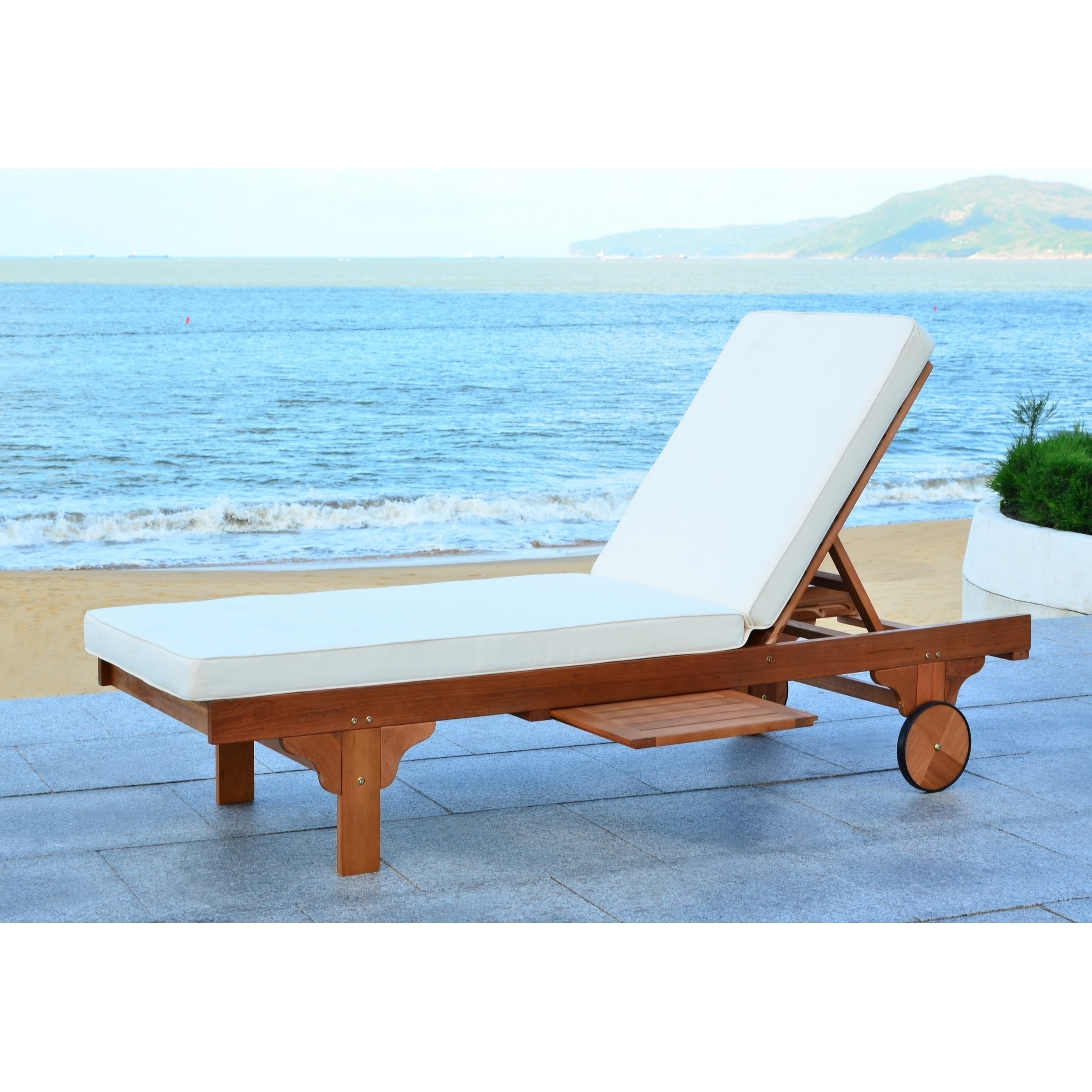 Safavieh Outdoor Living Newport Brown/ Beige Adjustable Chaise Regarding 2018 Newport Chaise Lounge Chairs (View 11 of 15)