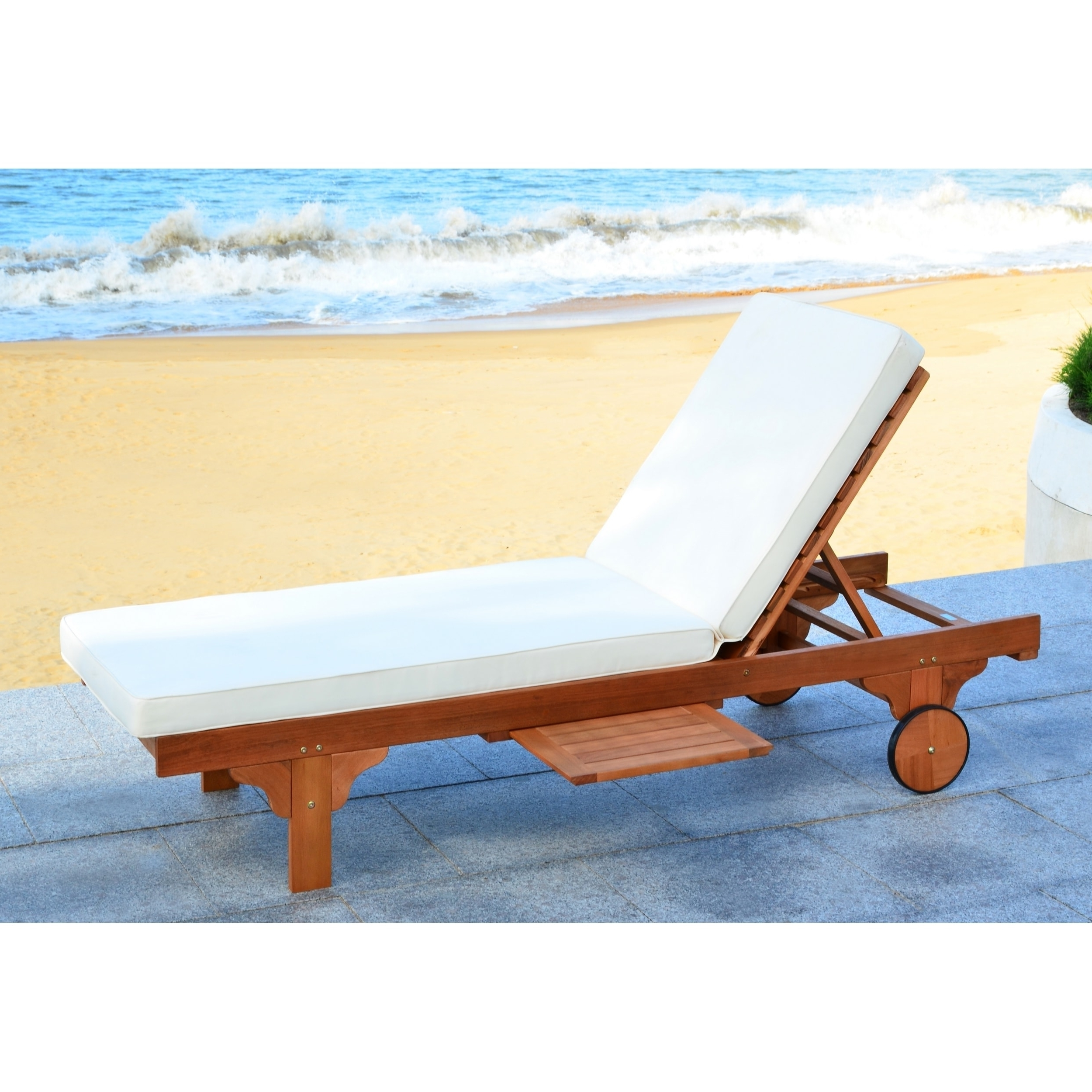 Safavieh Outdoor Living Newport Brown/ Beige Adjustable Chaise With Regard To Current Newport Chaise Lounge Chairs (View 12 of 15)