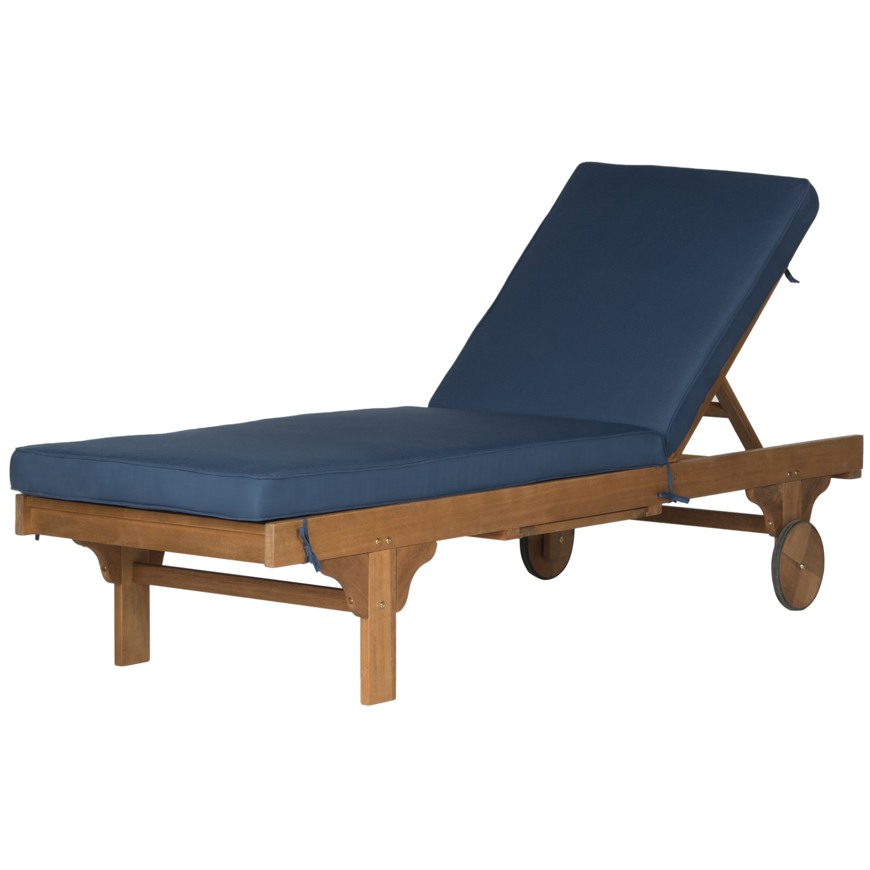 Safavieh Outdoor Living Newport Brown/ Navy Adjustable Chaise For Fashionable Newport Chaise Lounge Chairs (View 7 of 15)