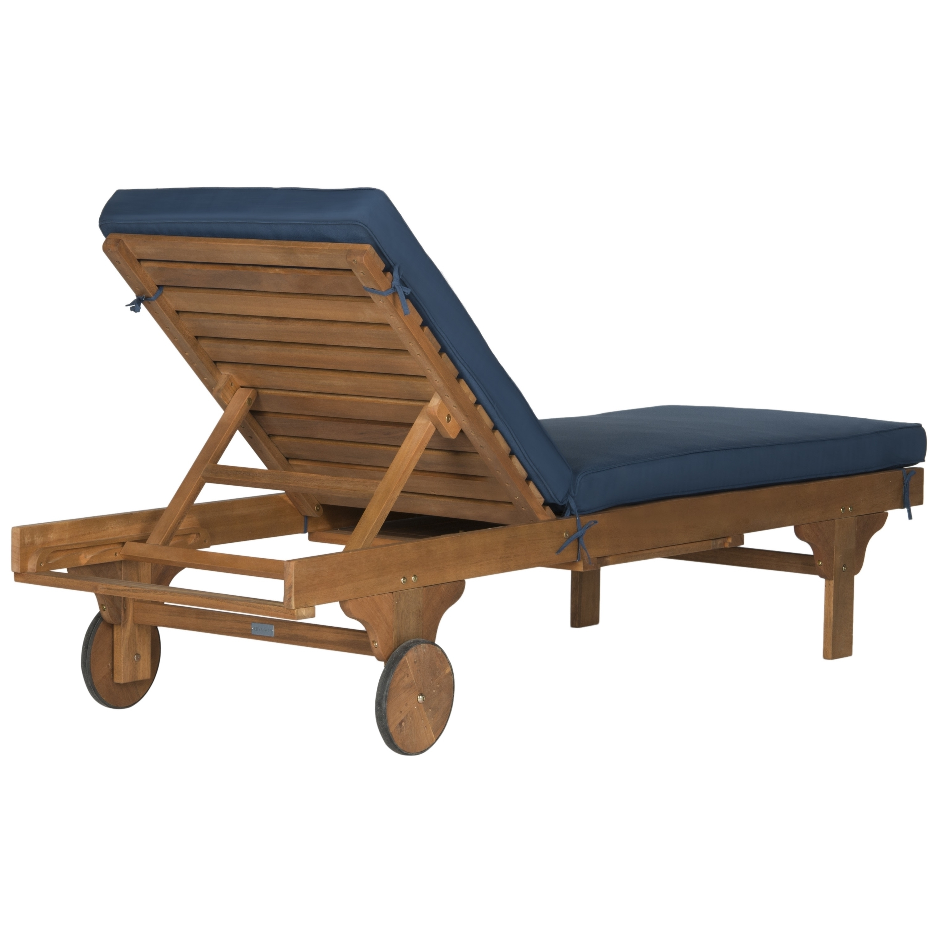 Safavieh Outdoor Living Newport Brown/ Navy Adjustable Chaise Pertaining To 2017 Newport Chaise Lounge Chairs (View 12 of 15)