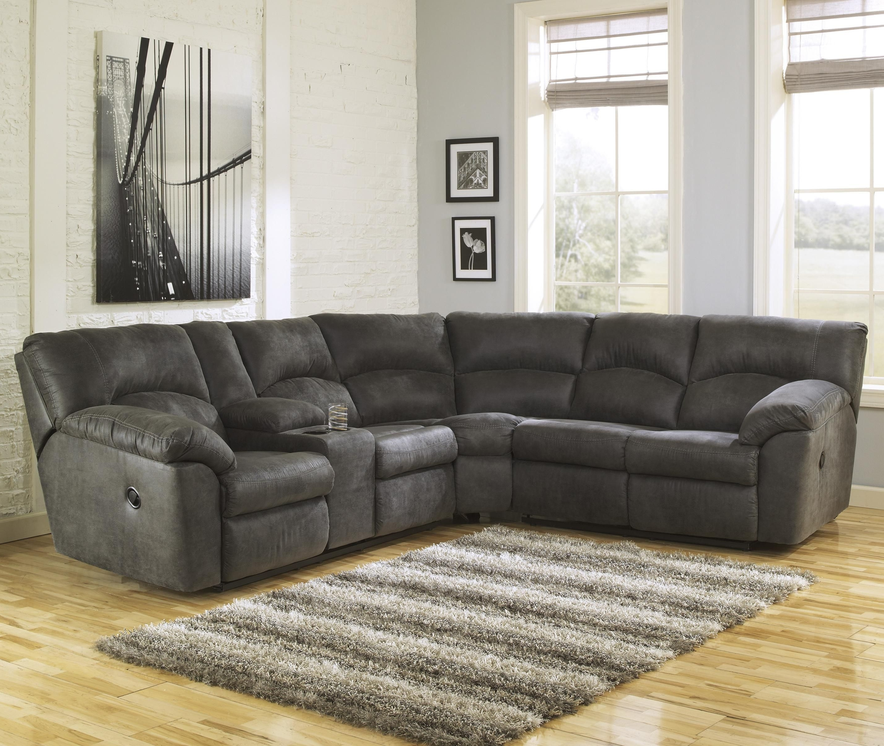 Sam Levitz Sectional Sofas Pertaining To Well Known Tambo – Pewter 2 Piece Reclining Corner Sectional With Center (View 6 of 15)