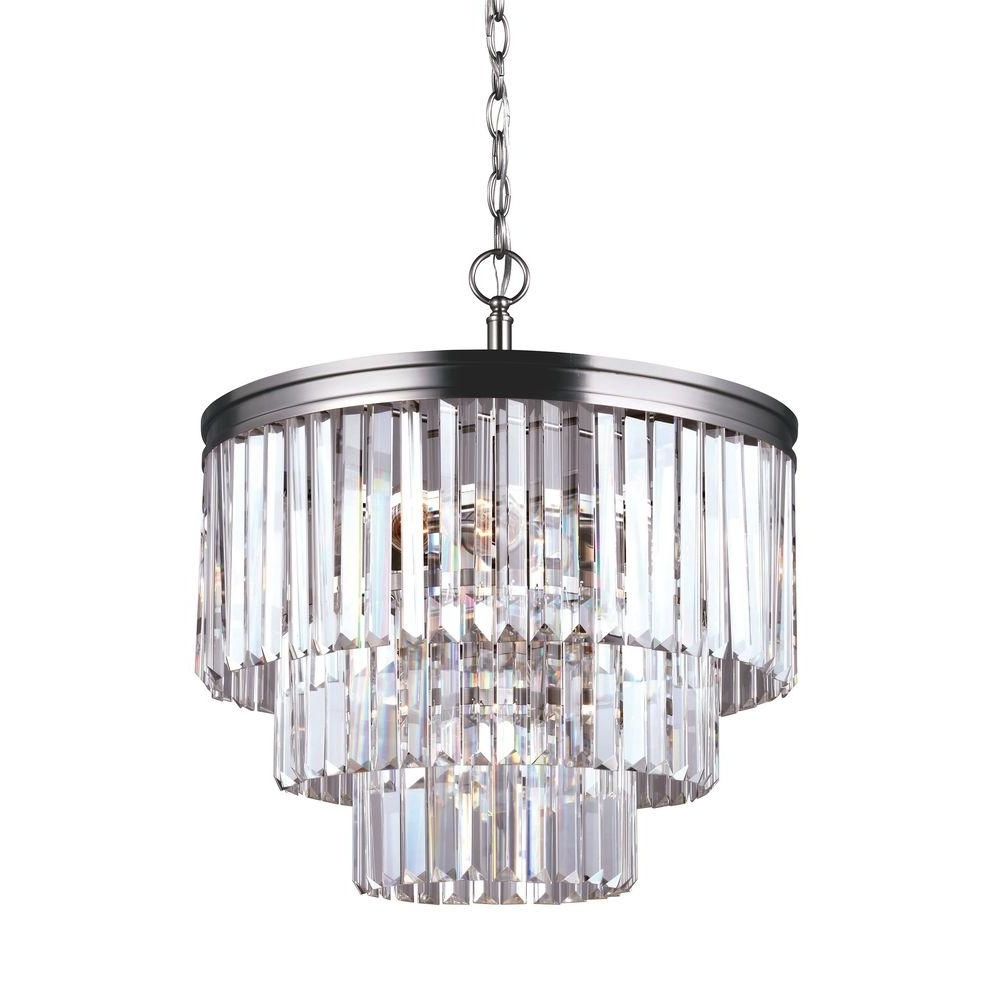 Sea Gull Lighting Carondelet 4 Light Antique Brushed Nickel Multi With Regard To 2018 4 Light Crystal Chandeliers (View 15 of 15)