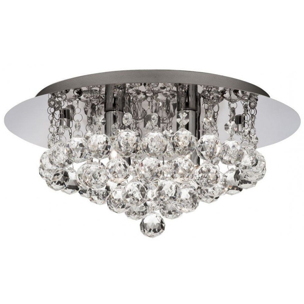 Searchlight 4404 4Cc Hanna Modern Crystal Flush Bathroom Ceiling For Latest Chandelier Bathroom Ceiling Lights (View 1 of 15)