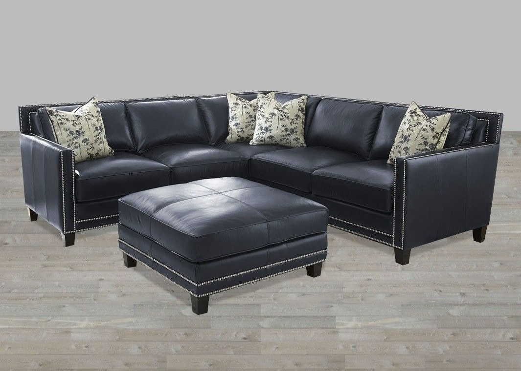 Sectional Blue Silver Nailheads Top Grain Leather Ottoman With Well Known Sectional Sofas With Nailheads (View 11 of 15)