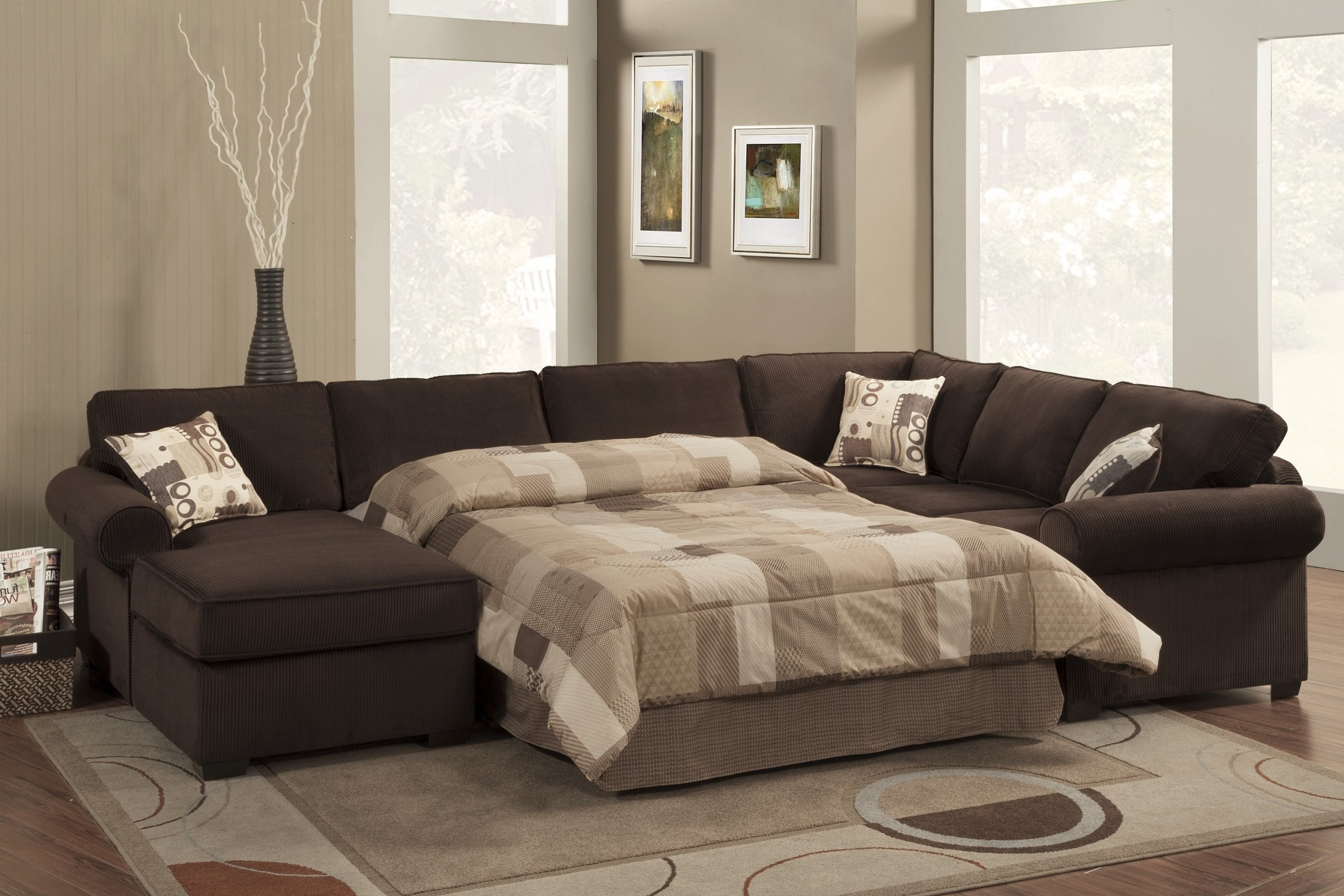 Sectional Sleeper Sofa Microfiber For Favorite Chaise Sectional Sleepers (View 7 of 15)
