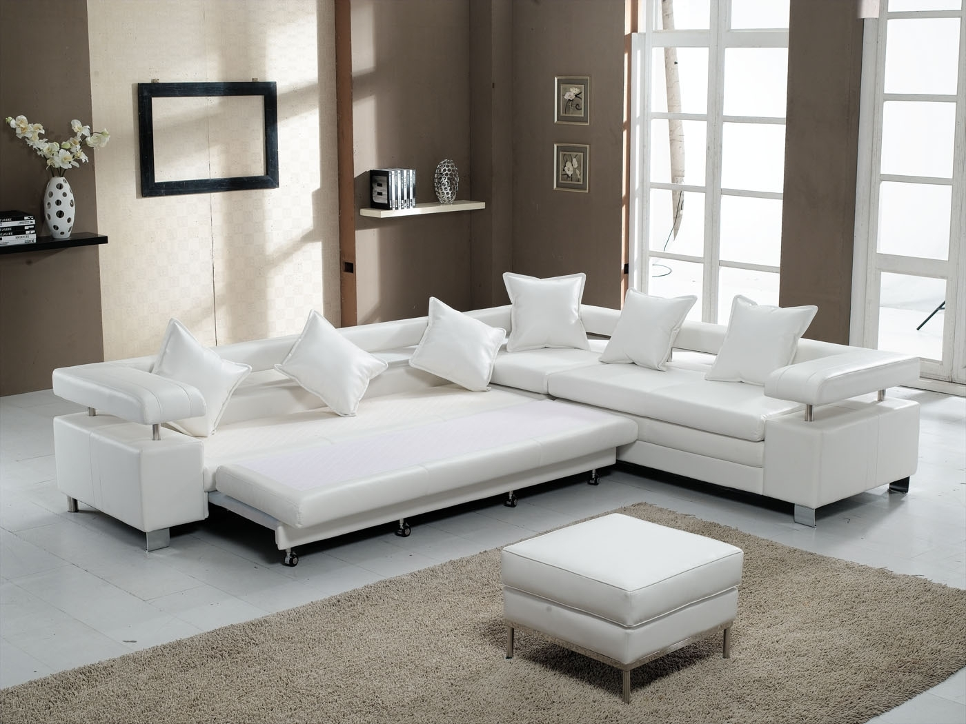 Sectional Sleeper Sofas With Ottoman Throughout Most Up To Date 3 Piece White Leather Sectional Sofa With Stainless Steel Legs And (View 5 of 15)